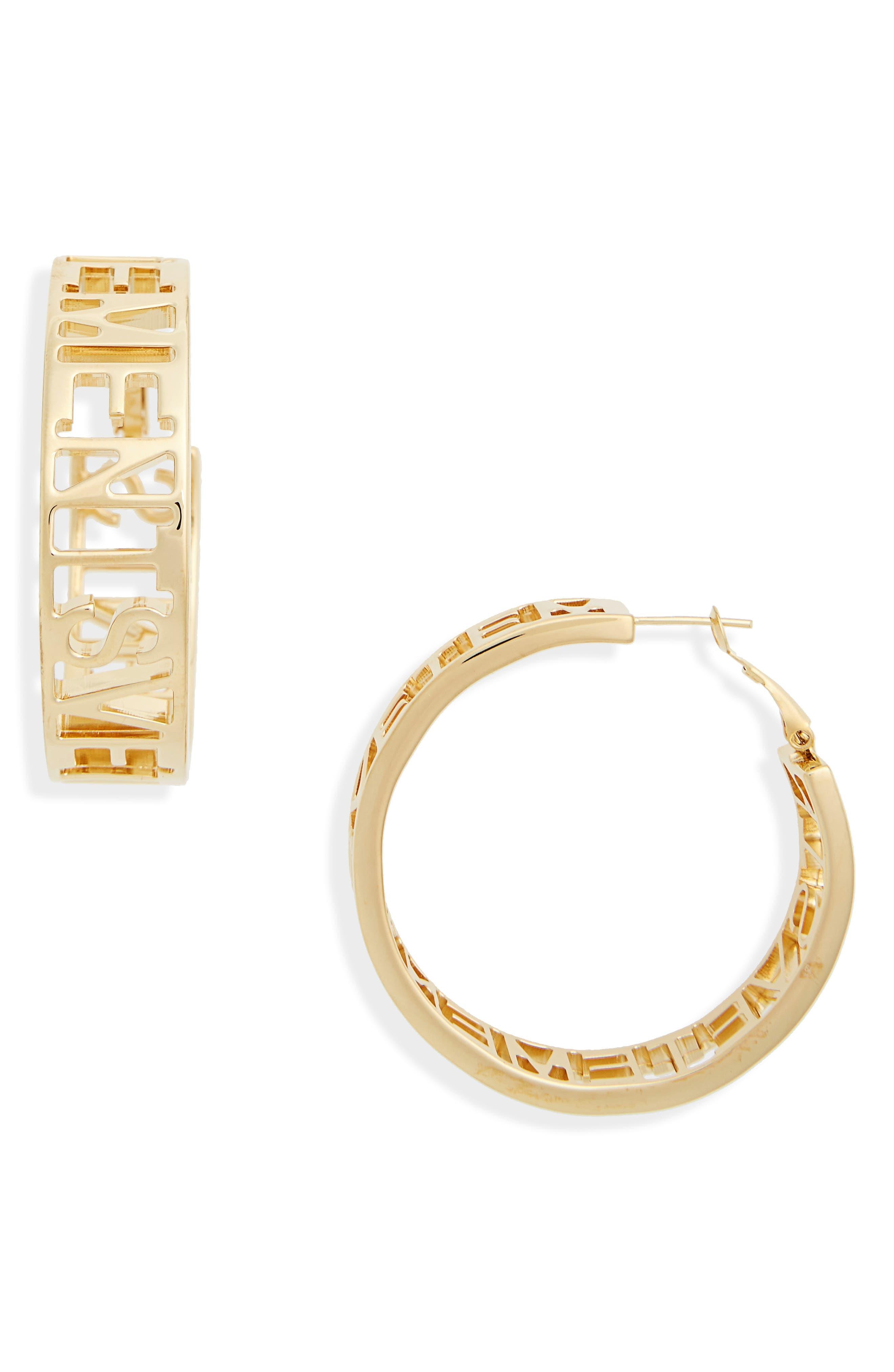 Small Logo Hoop Earrings,                         Main,                         color, Gold