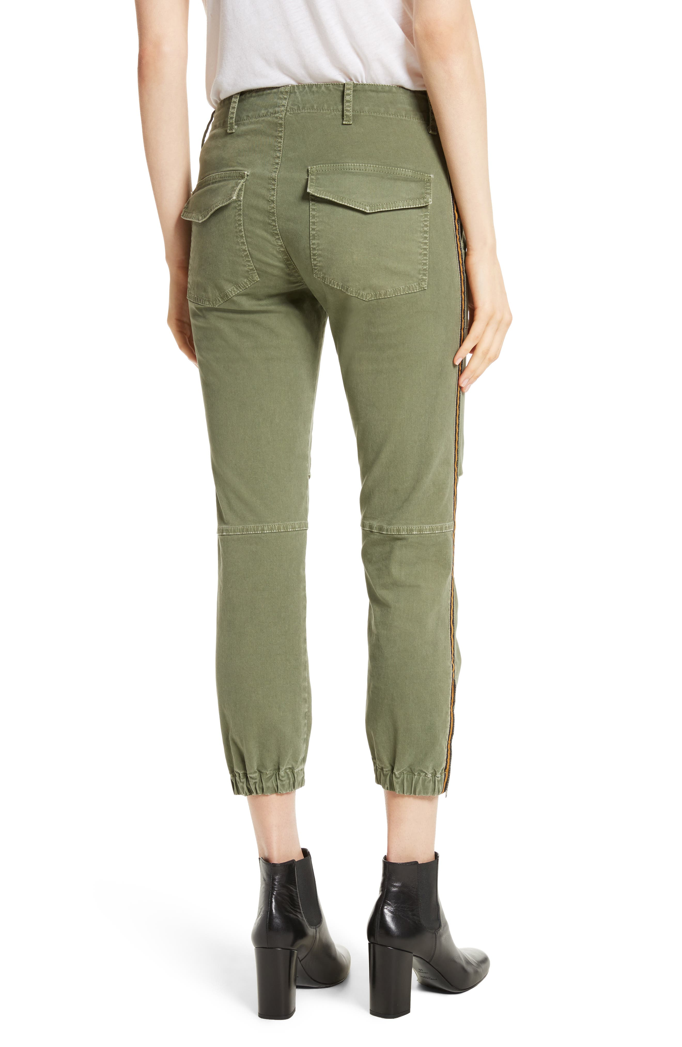 French Crop Military Pants,                             Alternate thumbnail 4, color,                             Camo