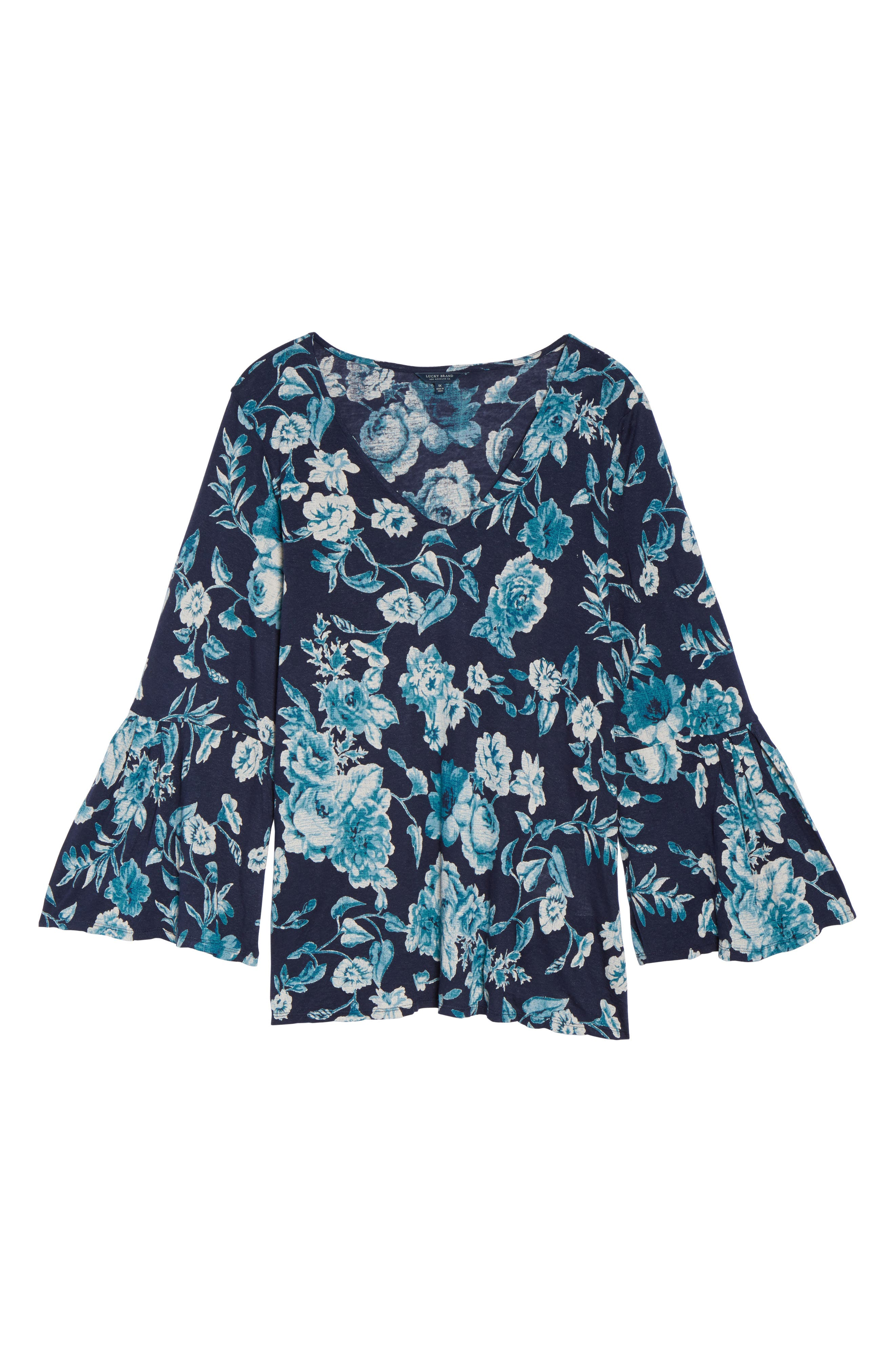 Alternate Image 6  - Lucky Brand Encinitas Bell Sleeve Floral Top (Plus Size)