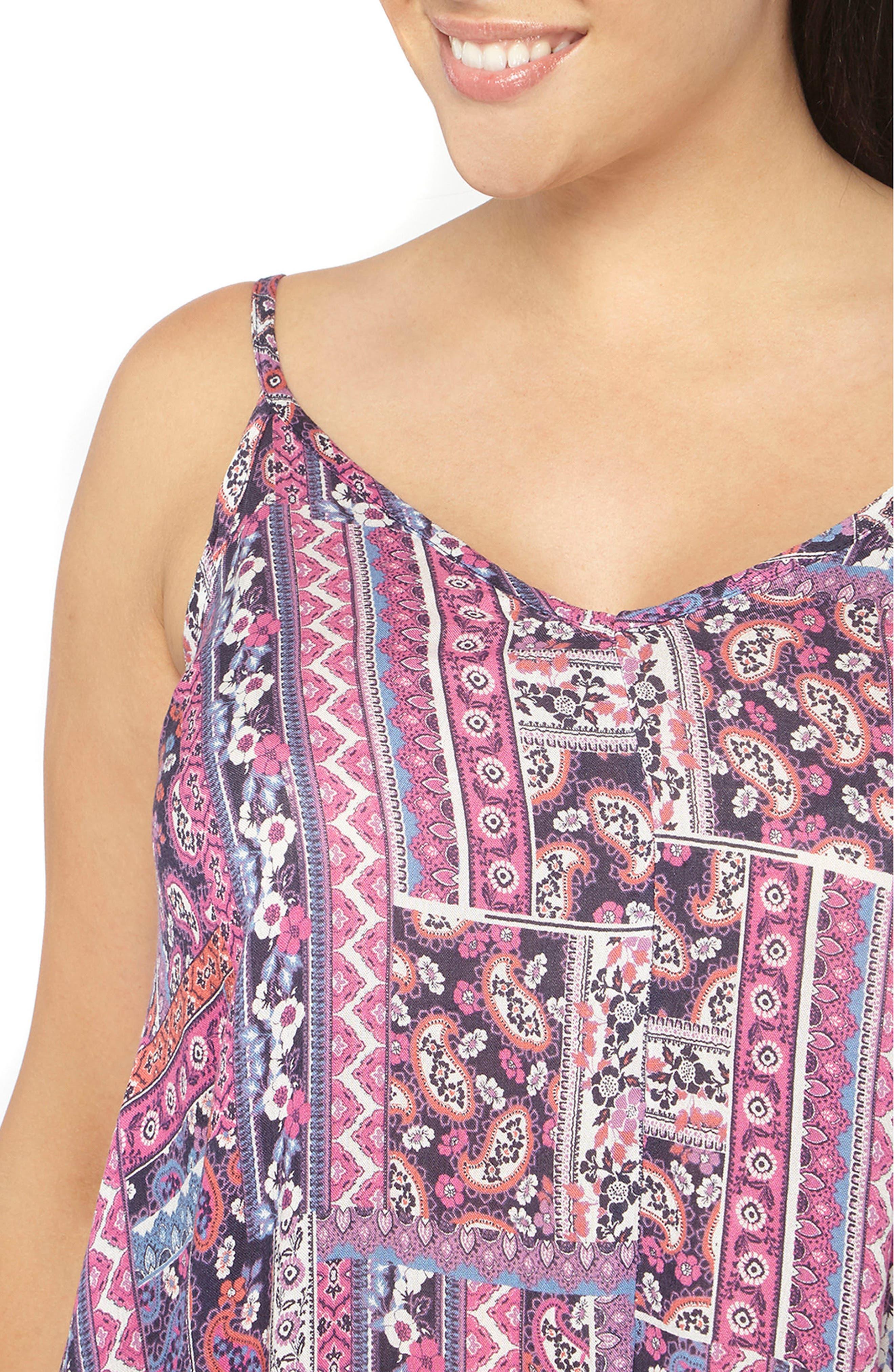 Alternate Image 3  - Evans Handkerchief Hem Print A-Line Dress (Plus Size)