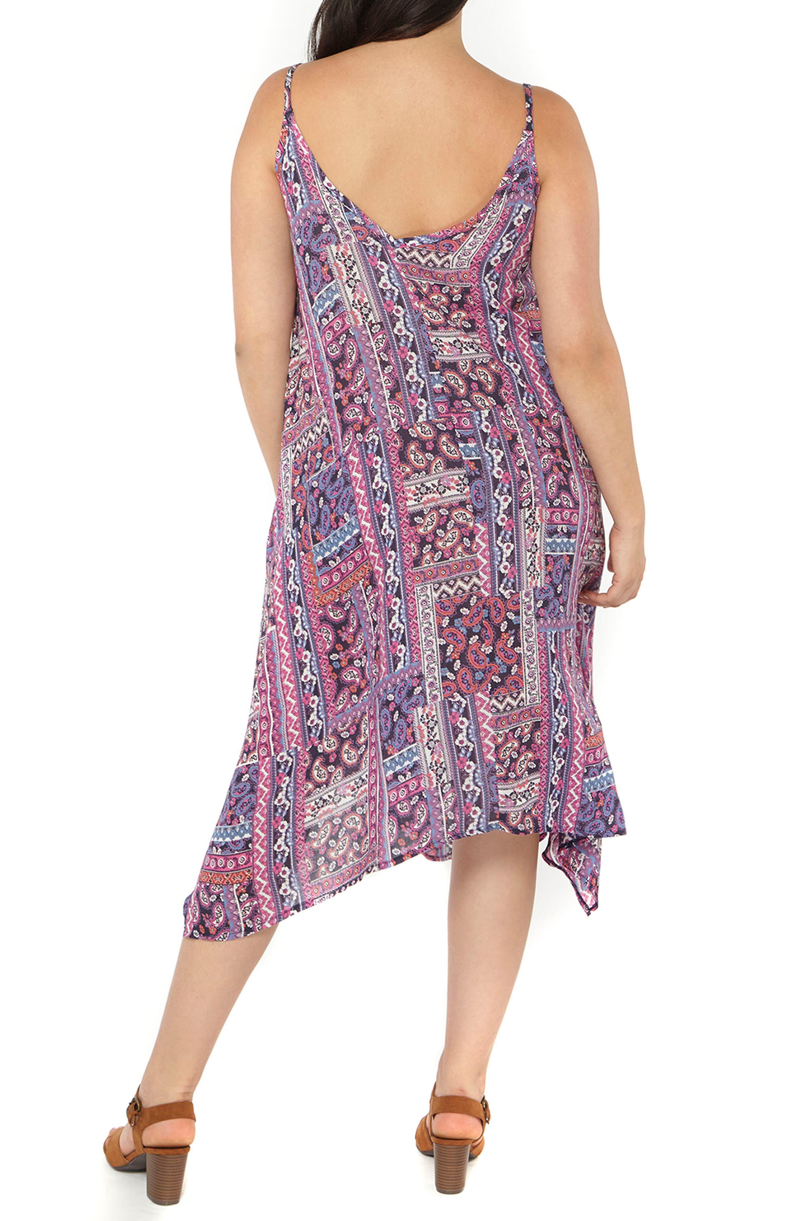 Alternate Image 2  - Evans Handkerchief Hem Print A-Line Dress (Plus Size)