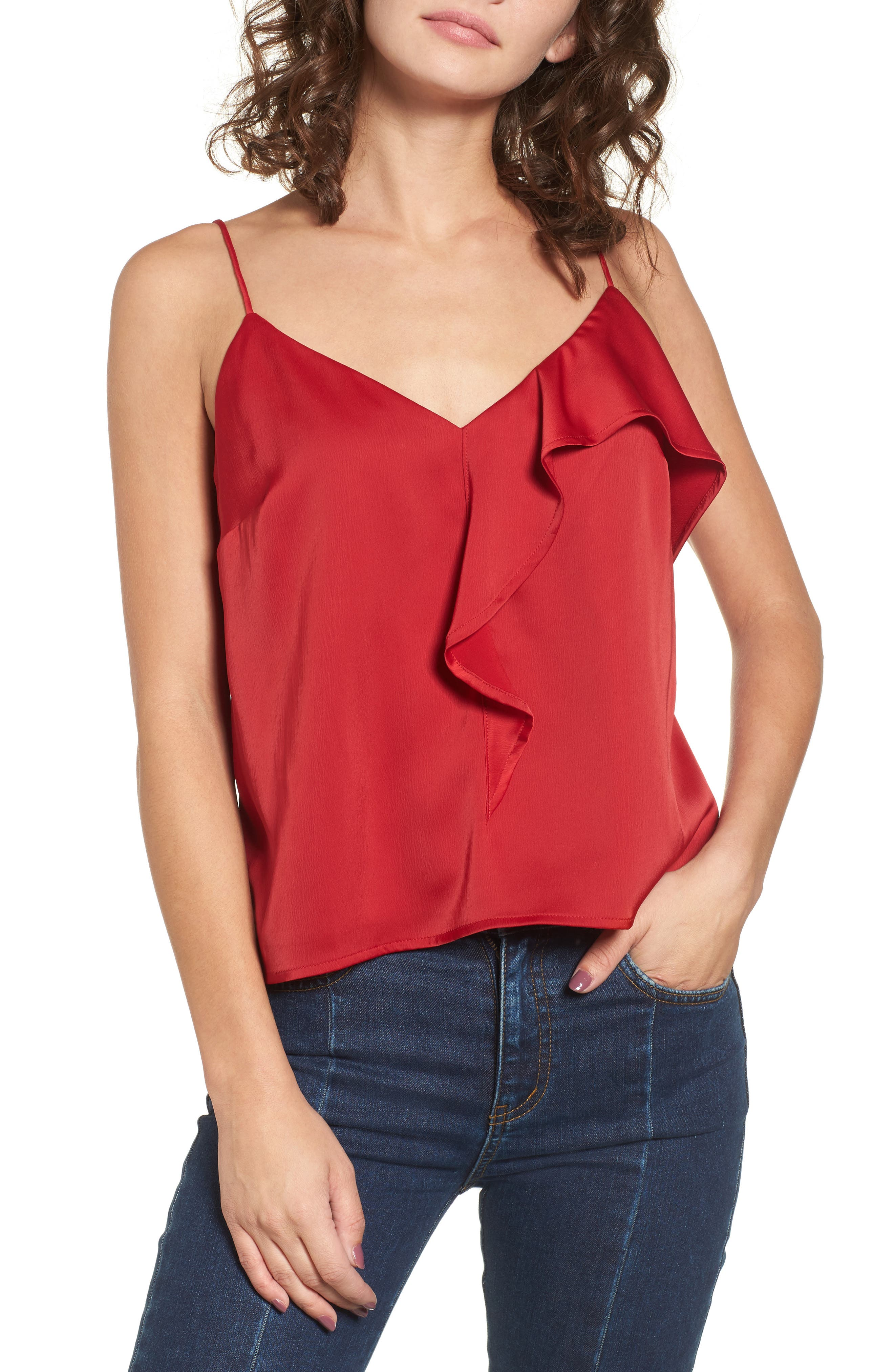 Ruffle Front Camisole Top,                         Main,                         color, Red