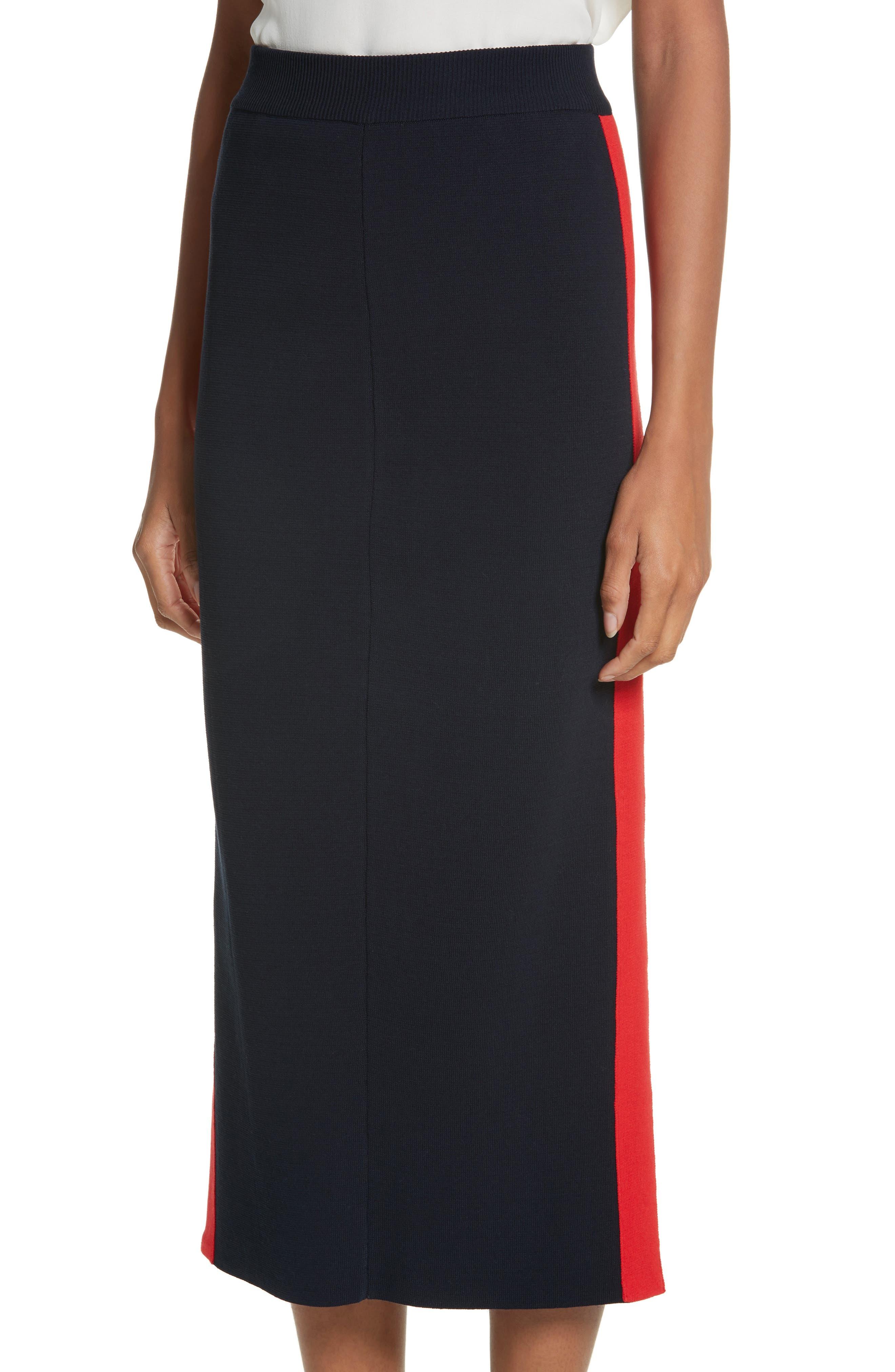 Stripe Cotton Skirt,                             Alternate thumbnail 4, color,                             Ink
