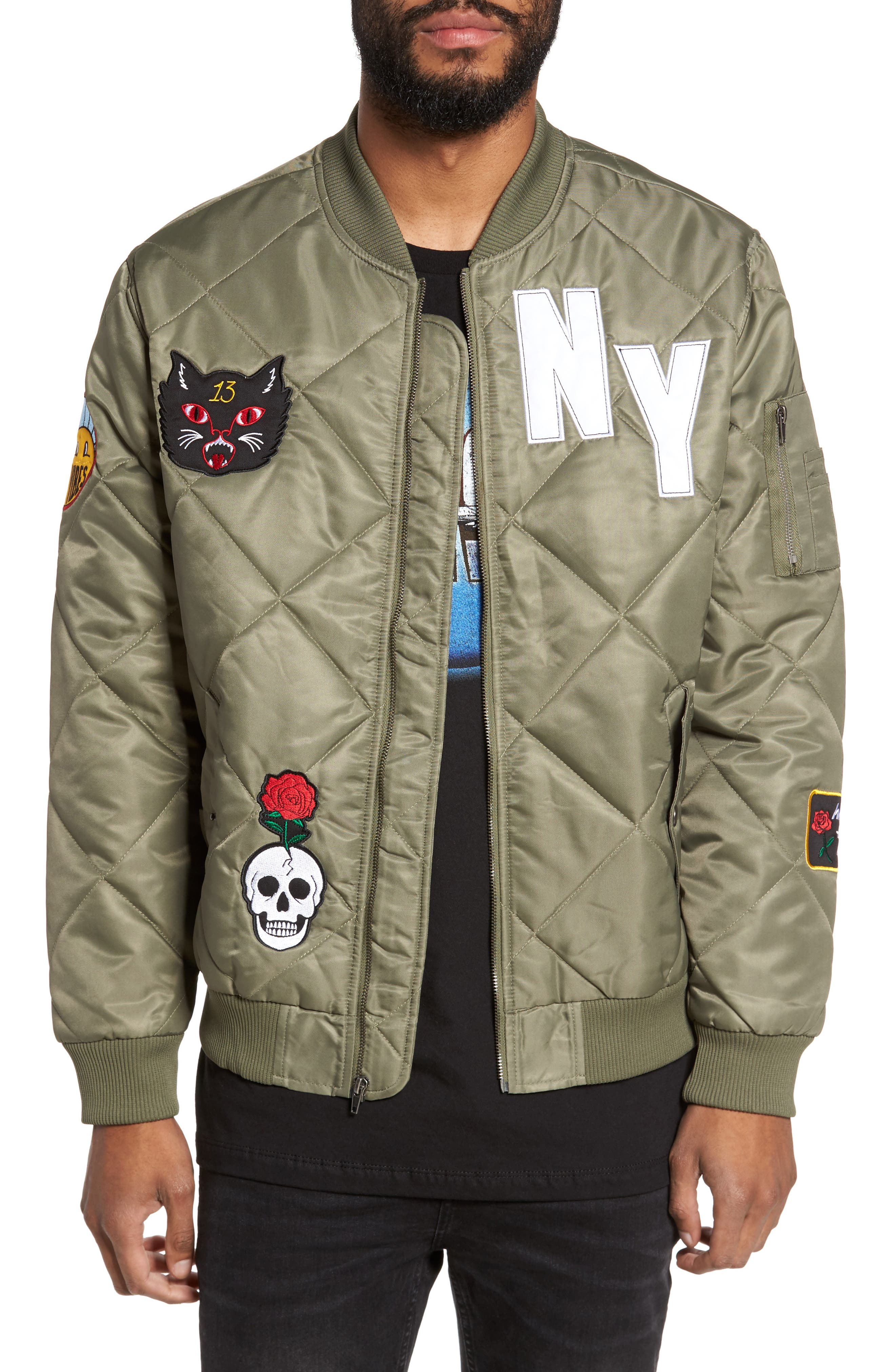 Quilted Bomber Jacket,                             Main thumbnail 1, color,                             Olive Marsh