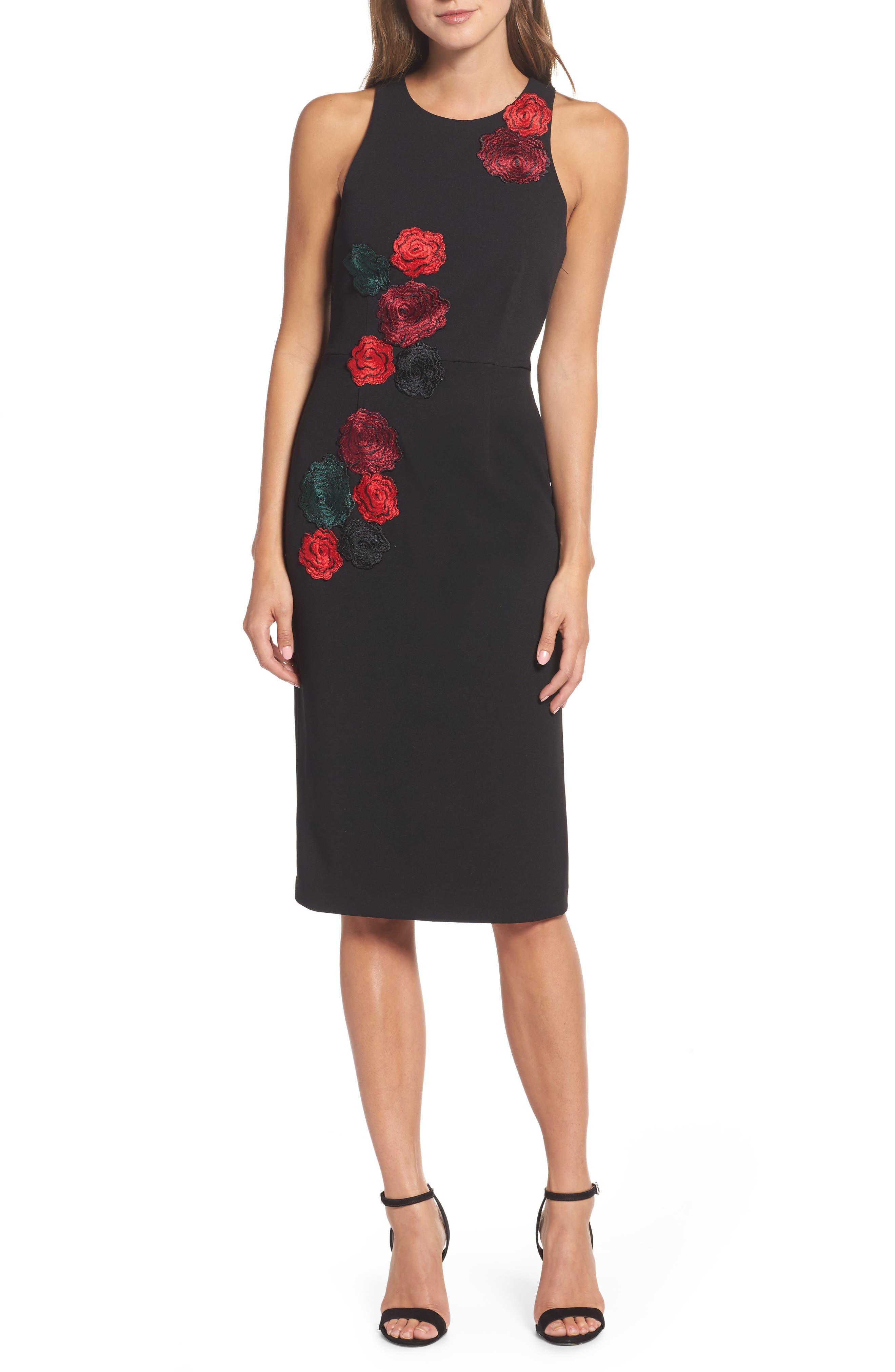 Floral Midi Dress,                         Main,                         color, Black