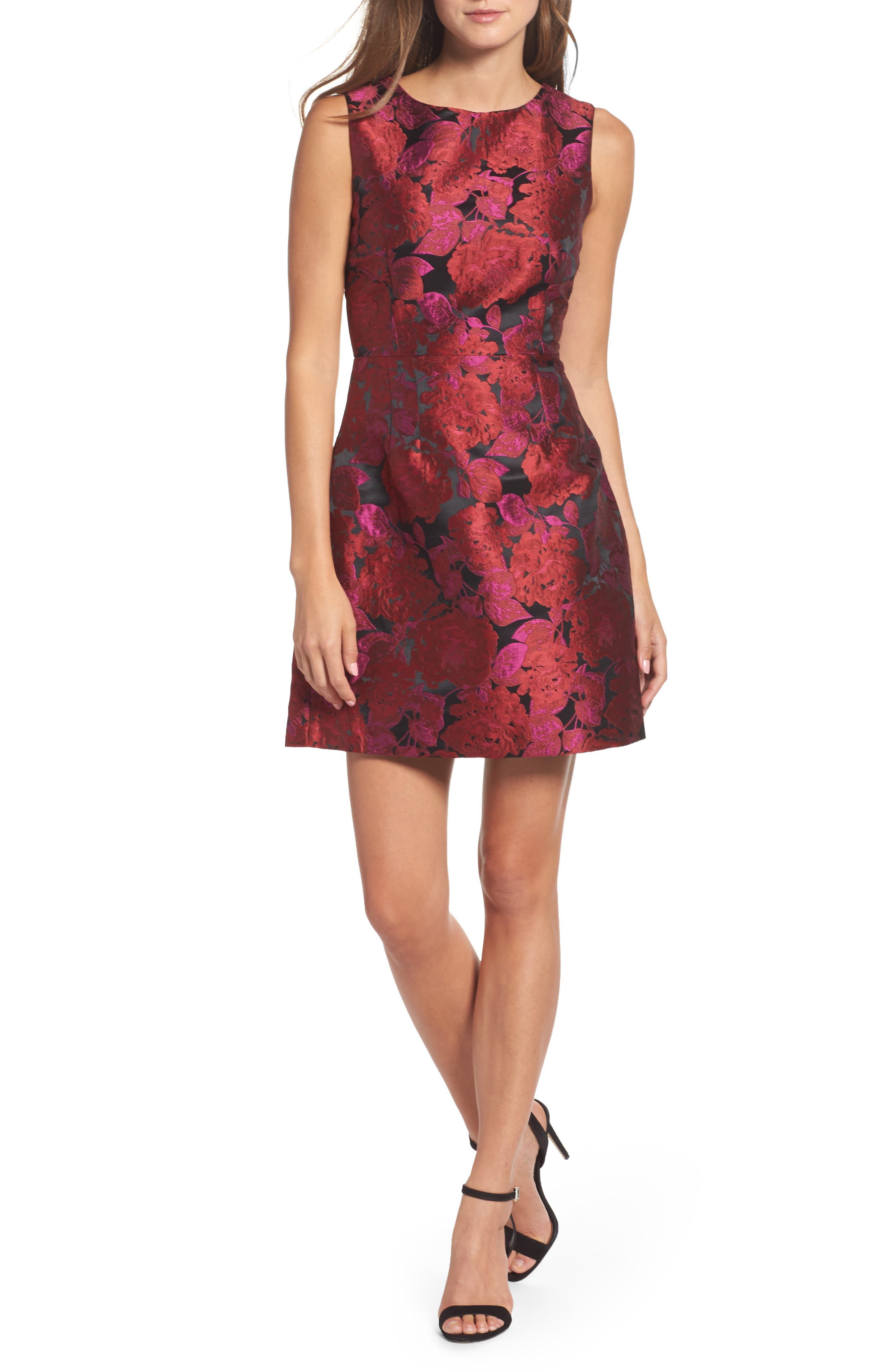 Jacquard Fit & Flare Dress,                         Main,                         color, Magenta