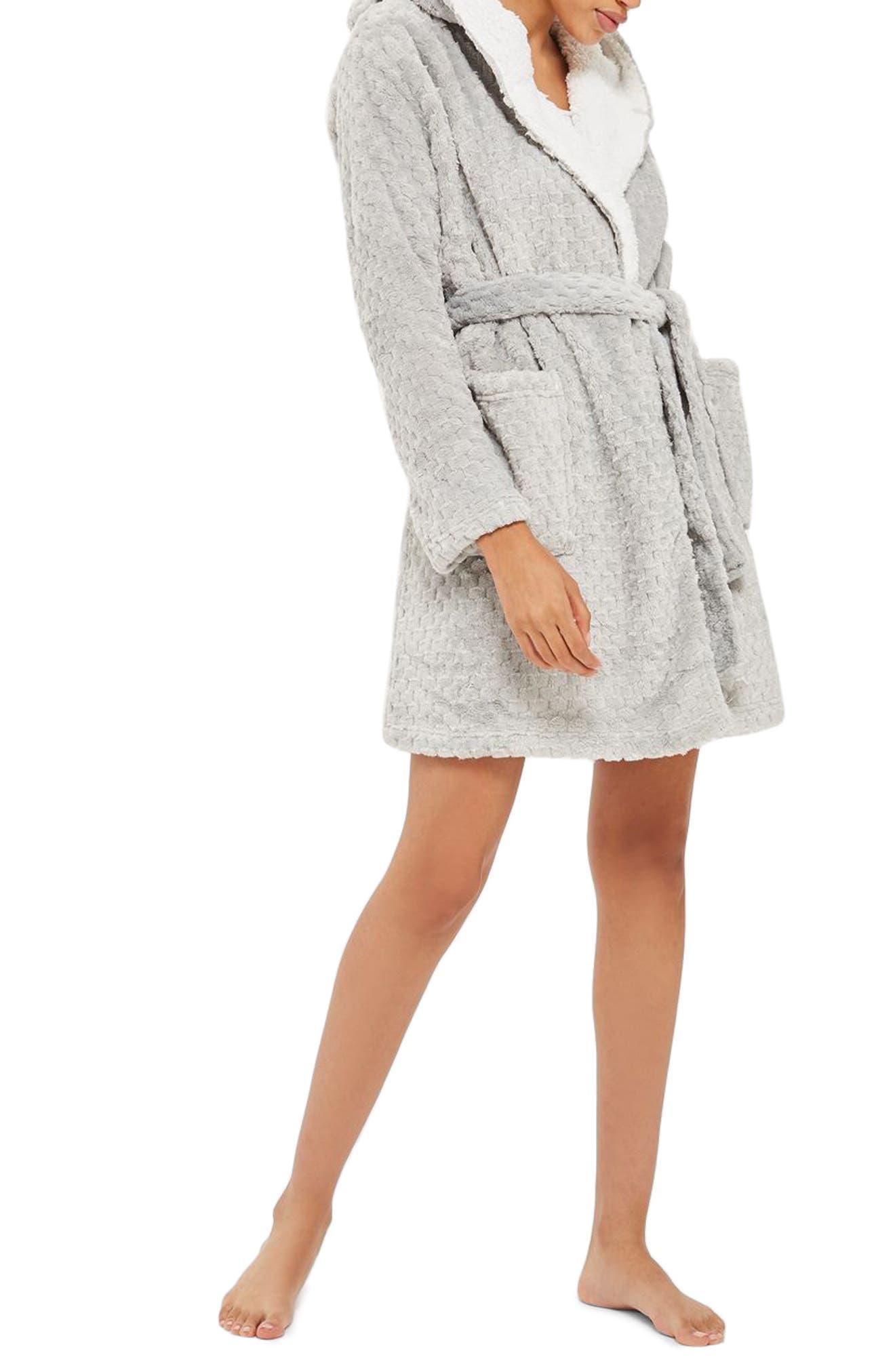 Teddy Bear Robe,                         Main,                         color, Grey Multi