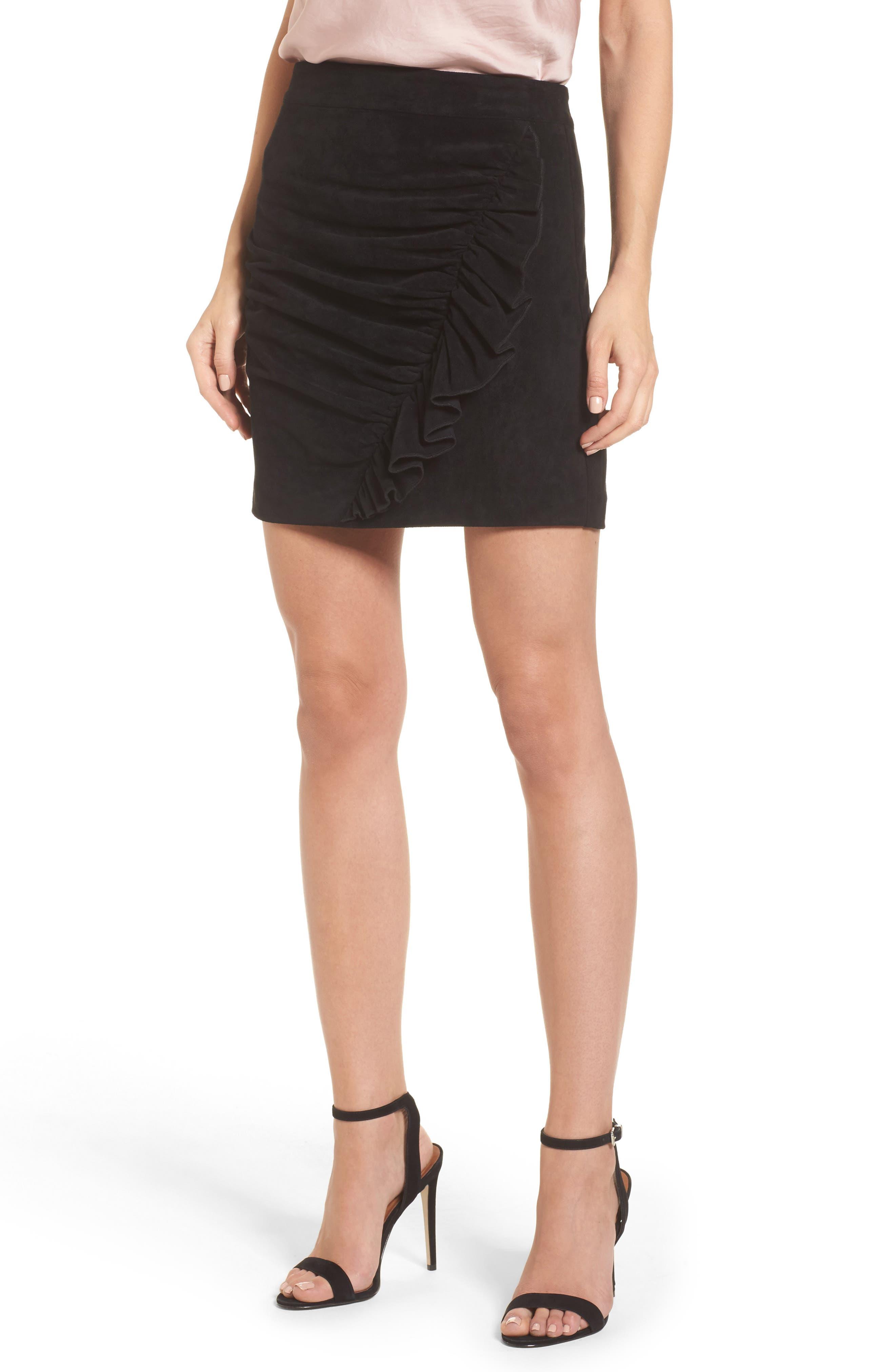Mabel Ruched Miniskirt,                             Main thumbnail 1, color,                             Black