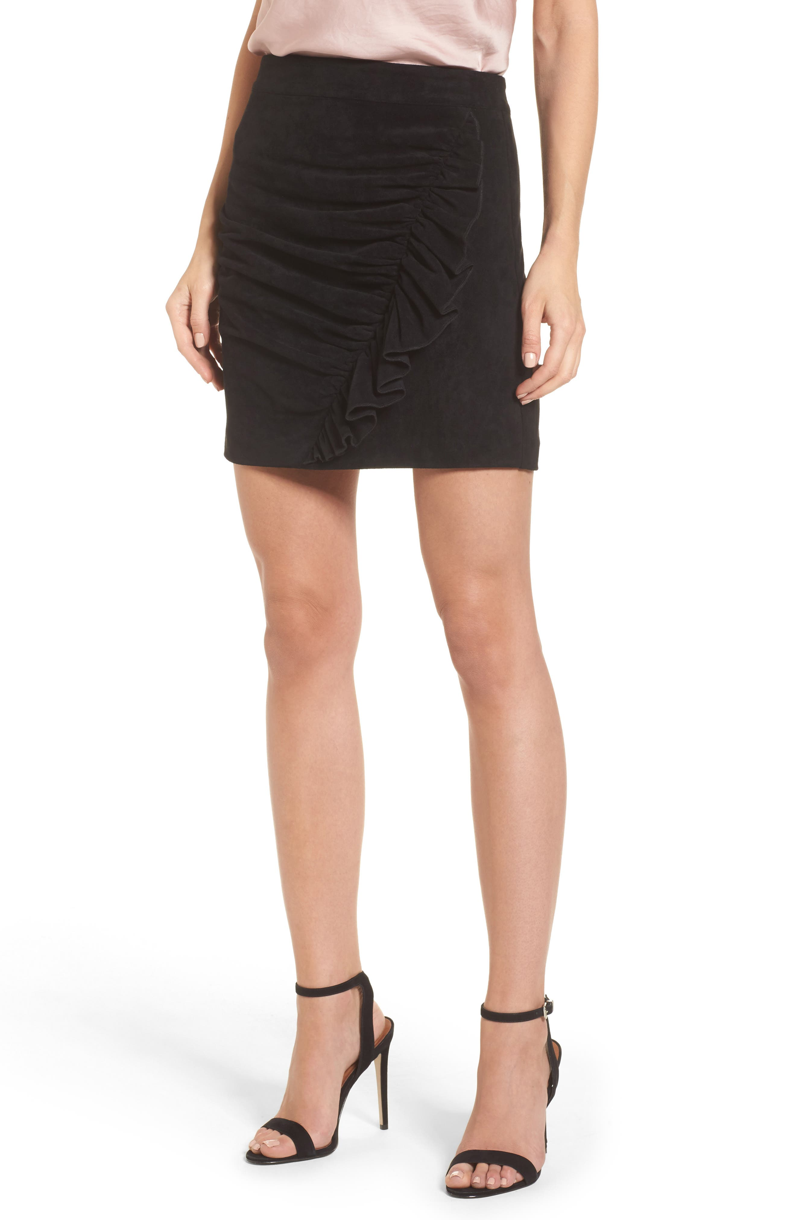 Mabel Ruched Miniskirt,                         Main,                         color, Black