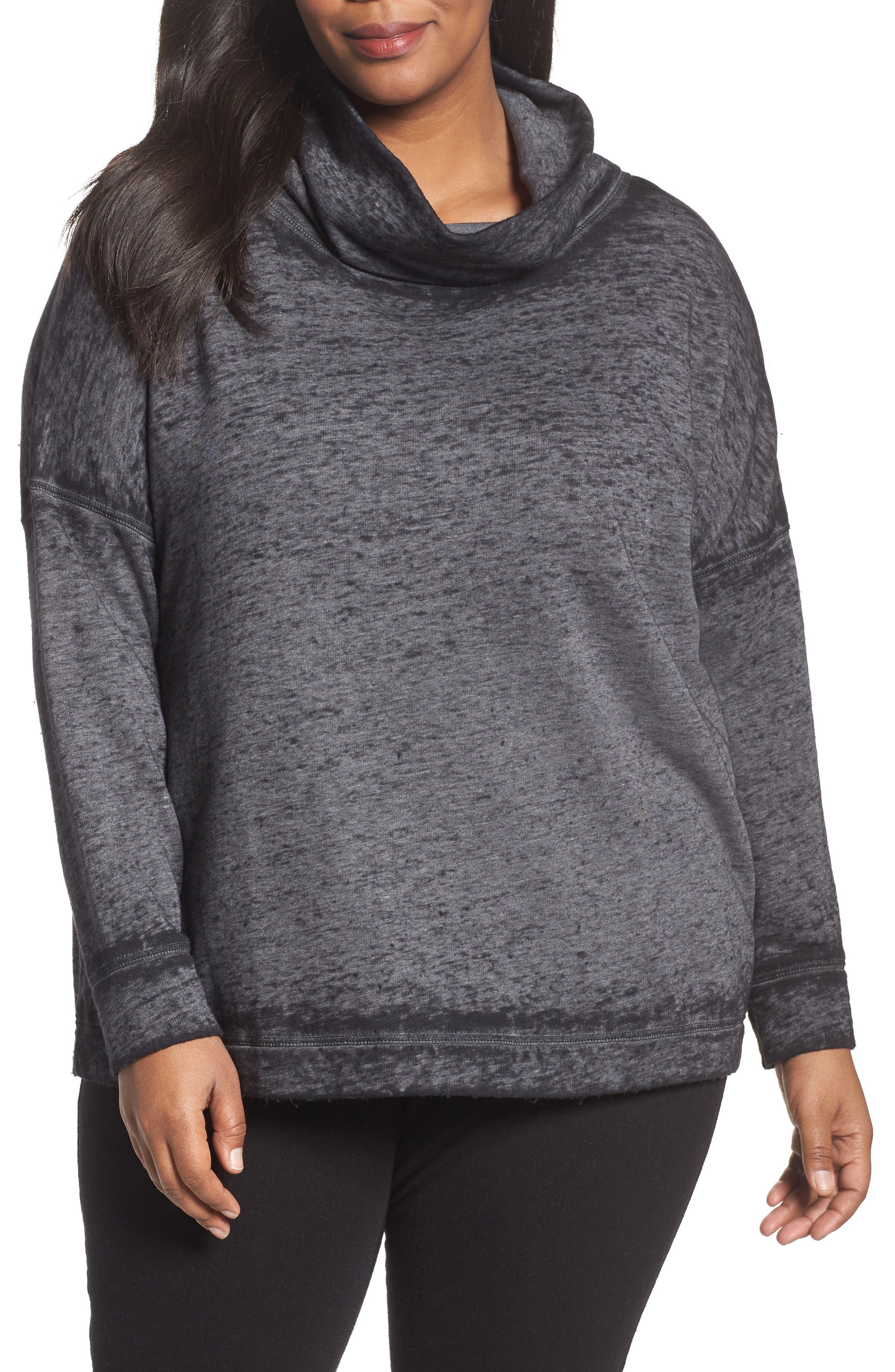 Caslon® Pleat Back Sweatshirt (Plus Size)
