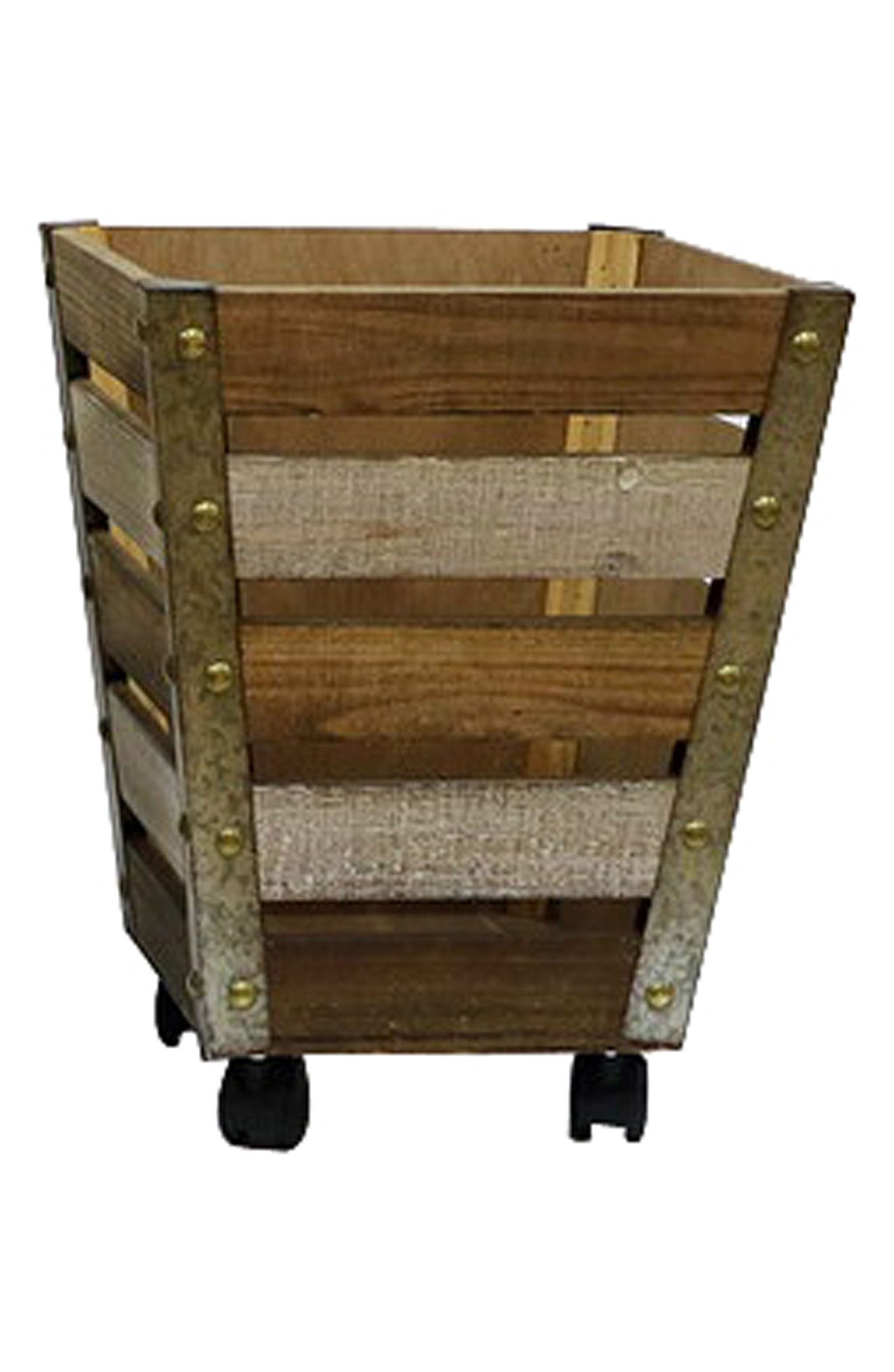 Wheeled Wooden Basket,                         Main,                         color, Brown