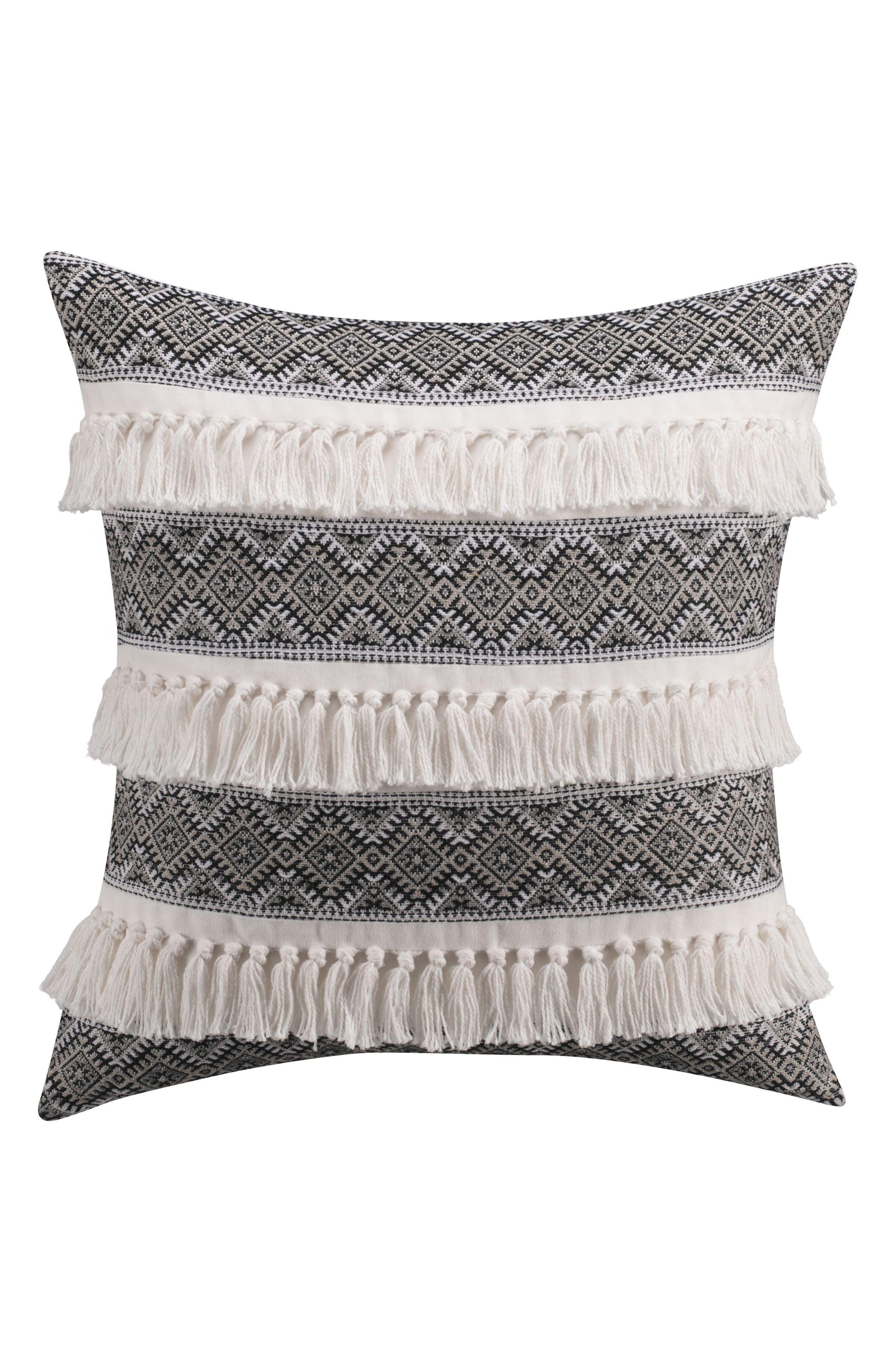 Folk Floral Embroidered Accent Pillow,                         Main,                         color, White/ Black