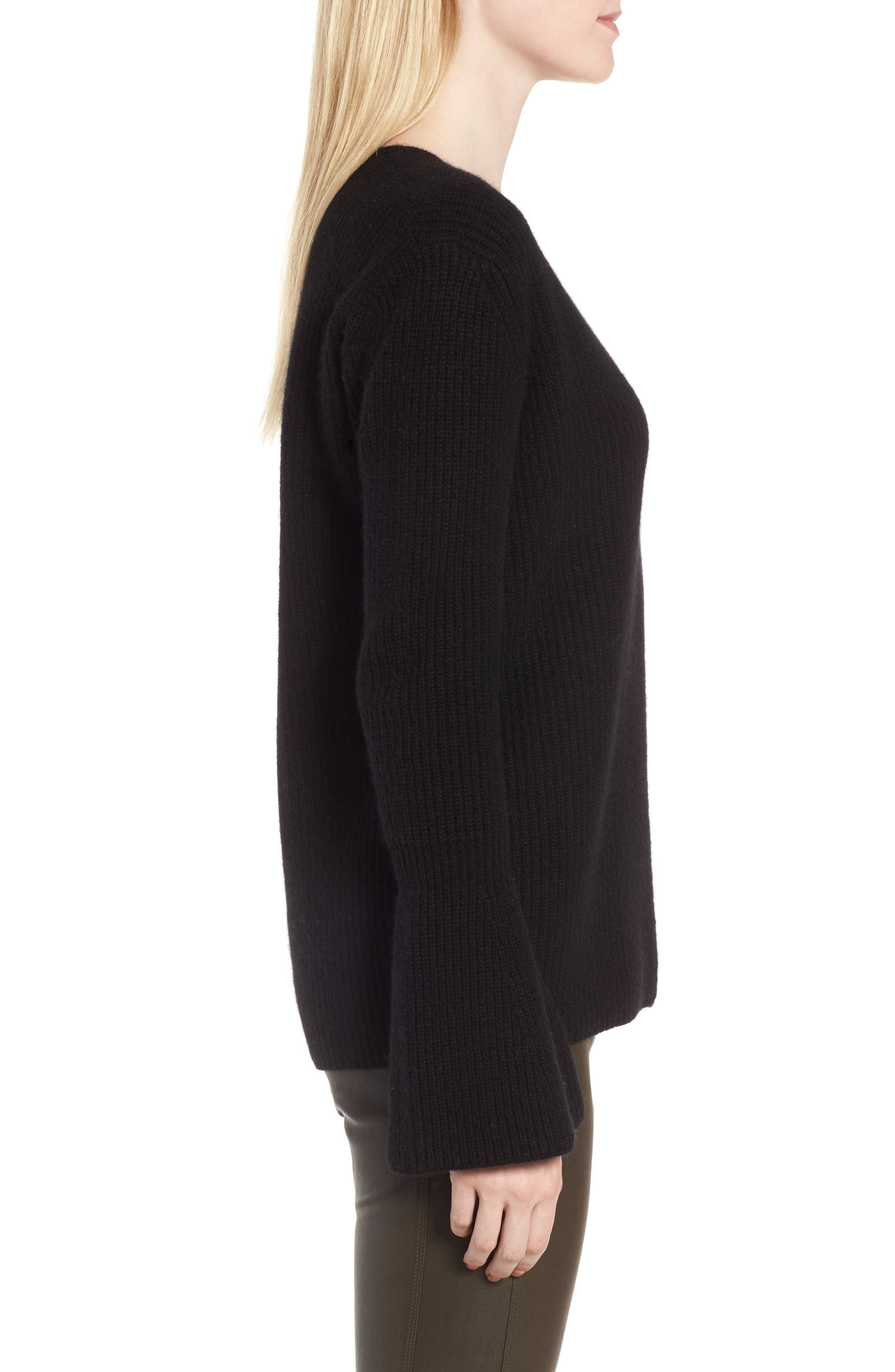 Rib Knit Cashmere Bell Sleeve Sweater,                             Alternate thumbnail 3, color,                             Black