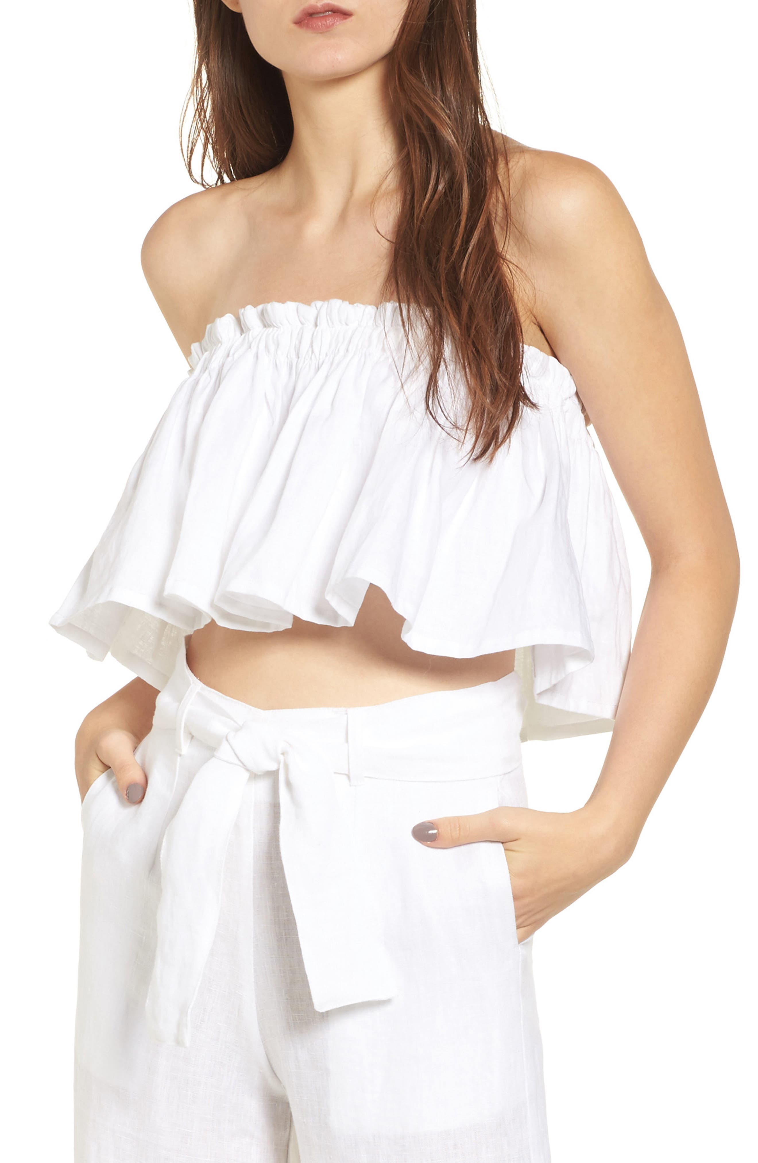 Alternate Image 1 Selected - FAITHFULL THE BRAND Pietro Cinched Linen Crop Top