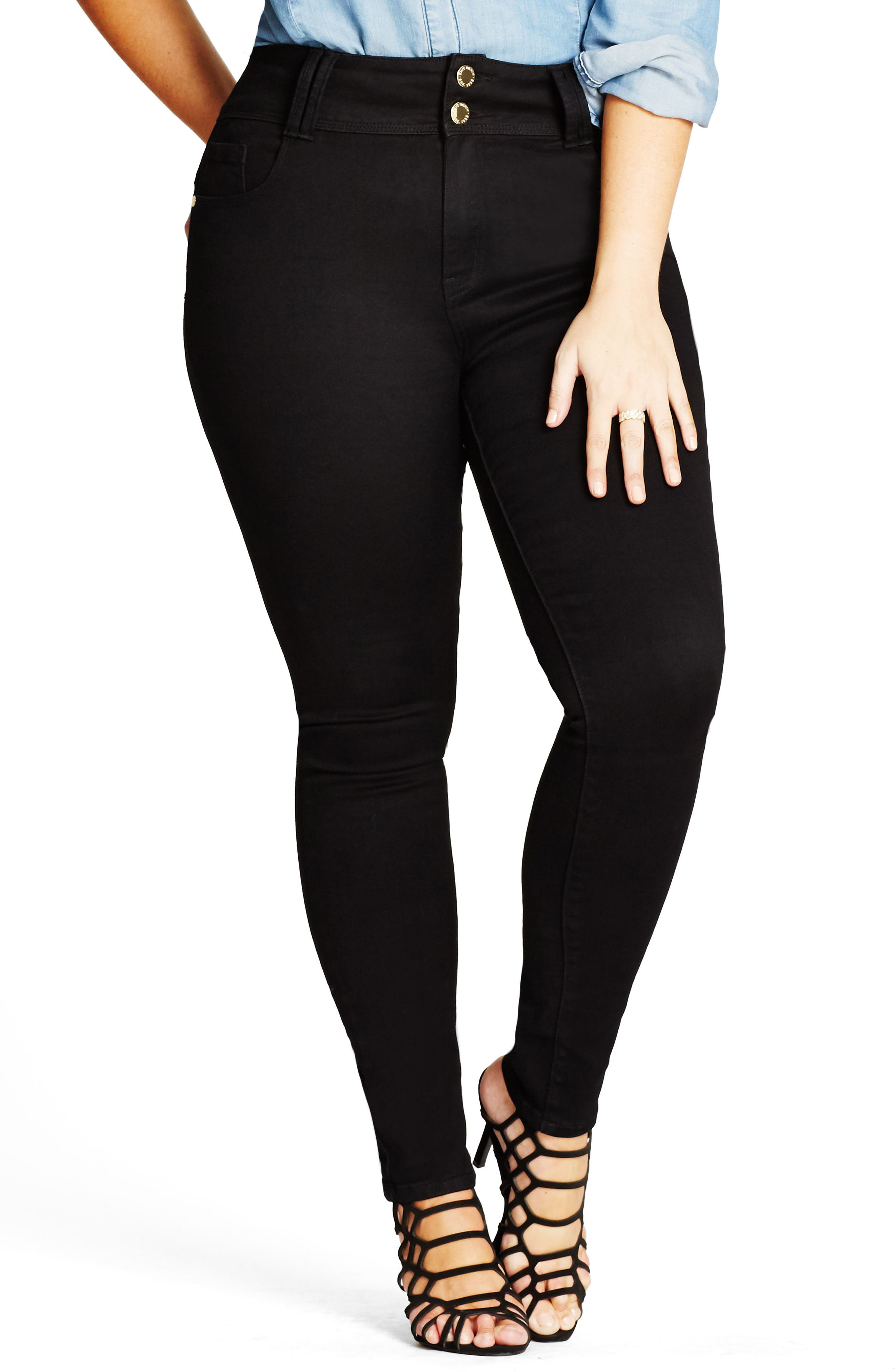 Alternate Image 1 Selected - City Chic Harley Stretch Skinny Jeans (Plus Size)