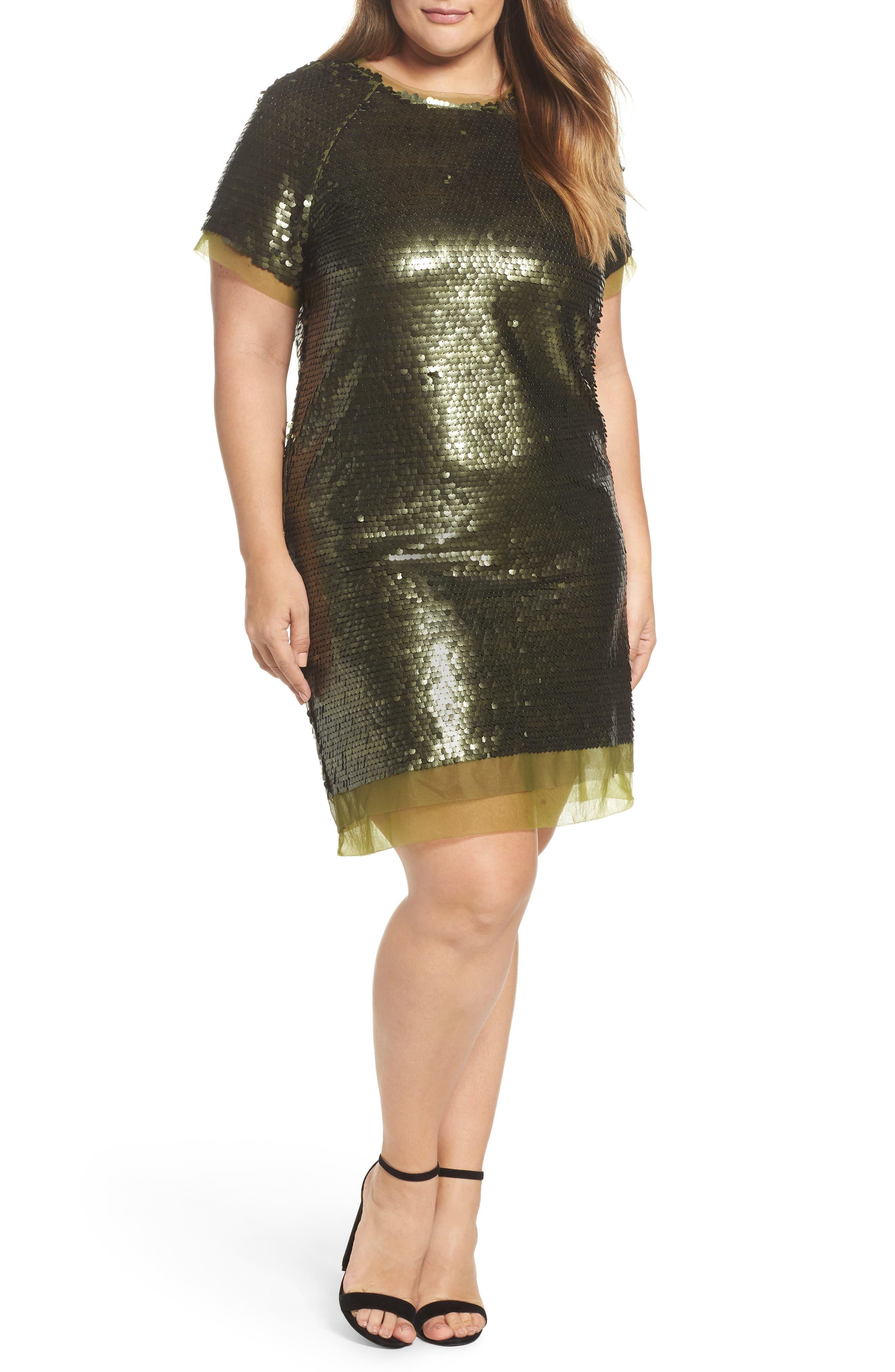 Sequin Mini Dress,                         Main,                         color, Green