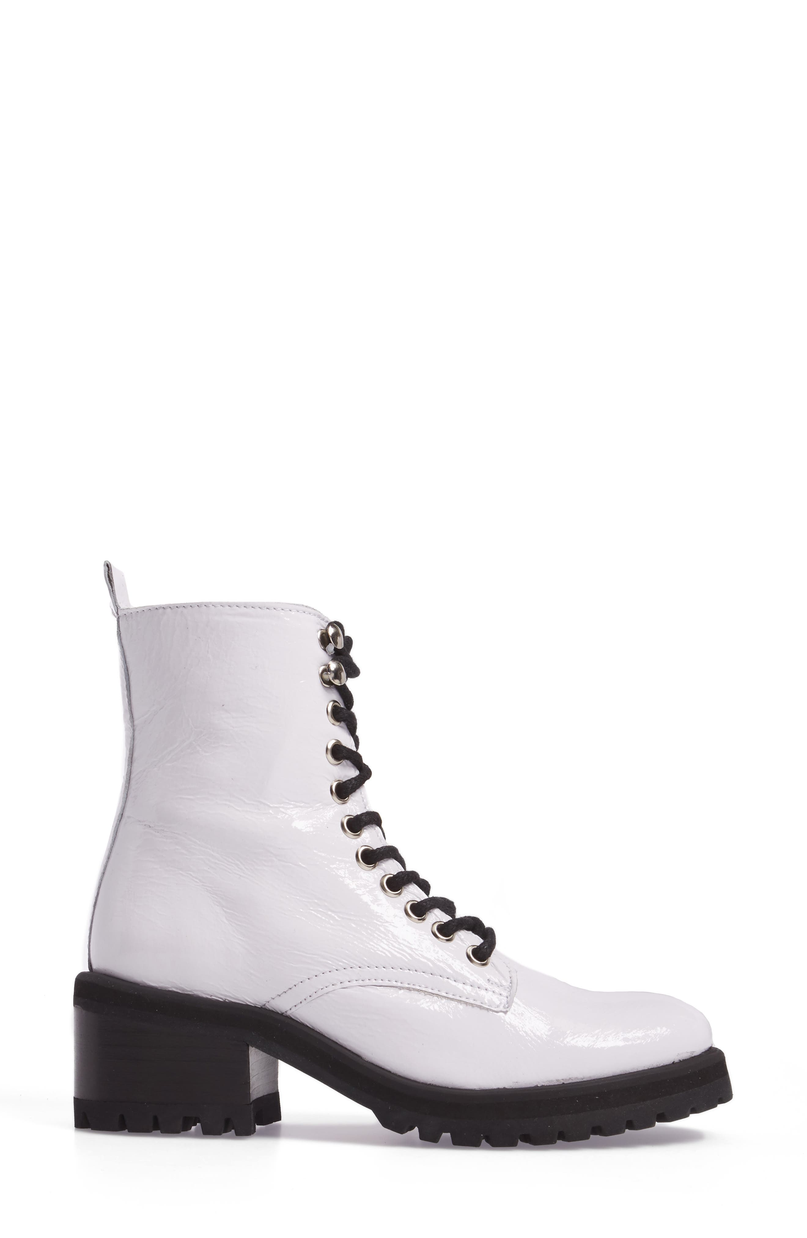 Geneva Bootie,                             Alternate thumbnail 3, color,                             White Patent Leather