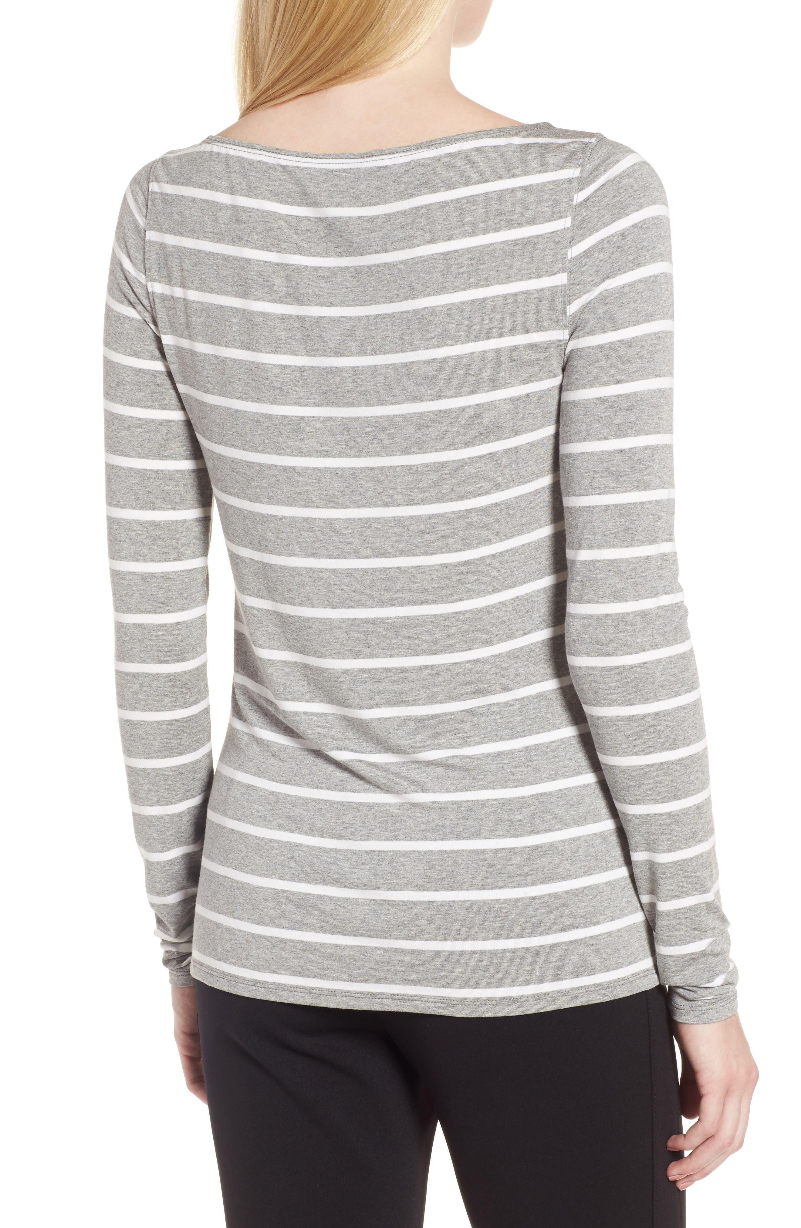 Long Sleeve Bateau Neck Tee,                             Alternate thumbnail 2, color,                             Grey Heather- Ivory Stripe