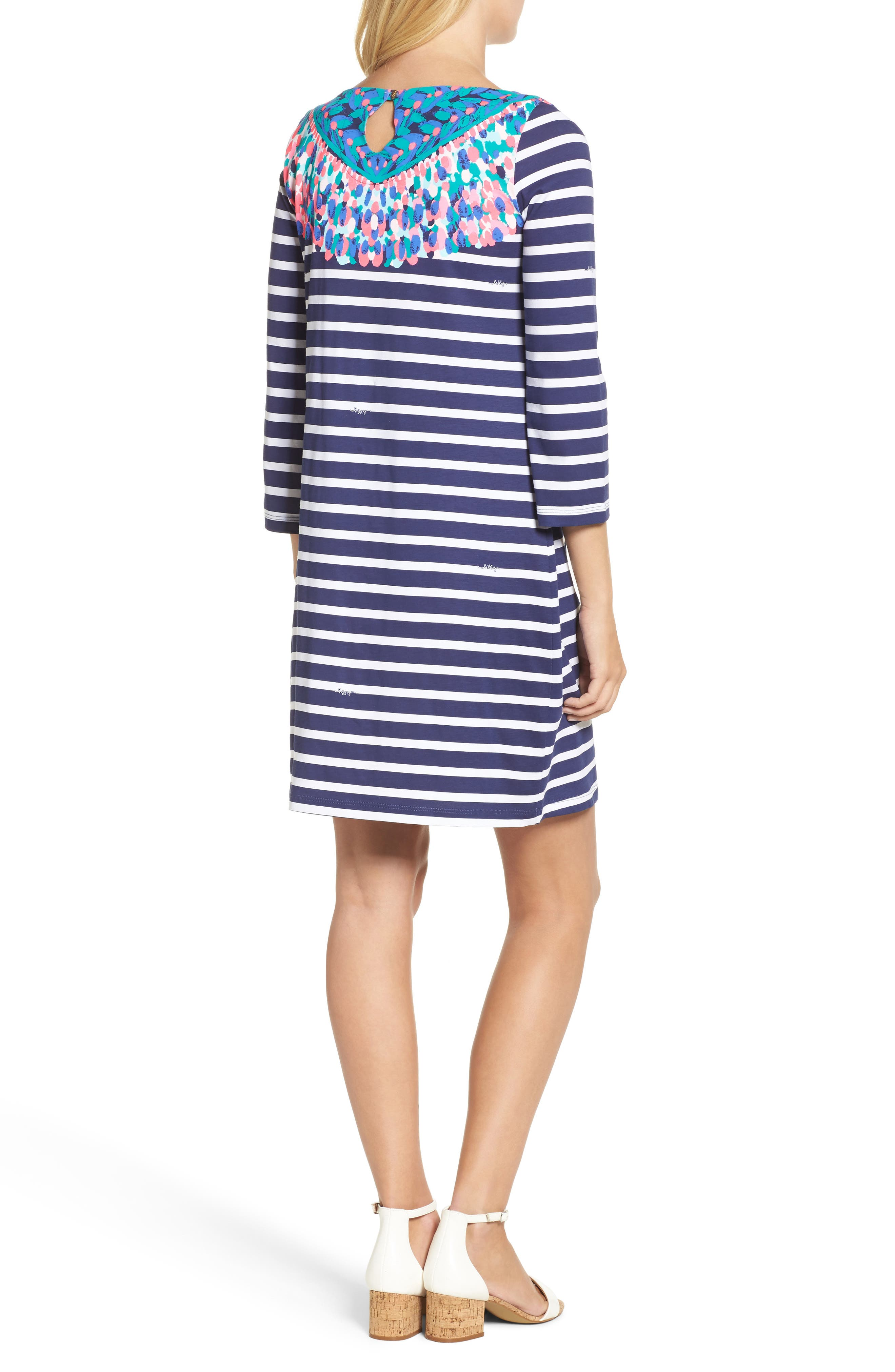 Bay Shift Dress,                             Alternate thumbnail 2, color,                             Bright Navy Island Medallion