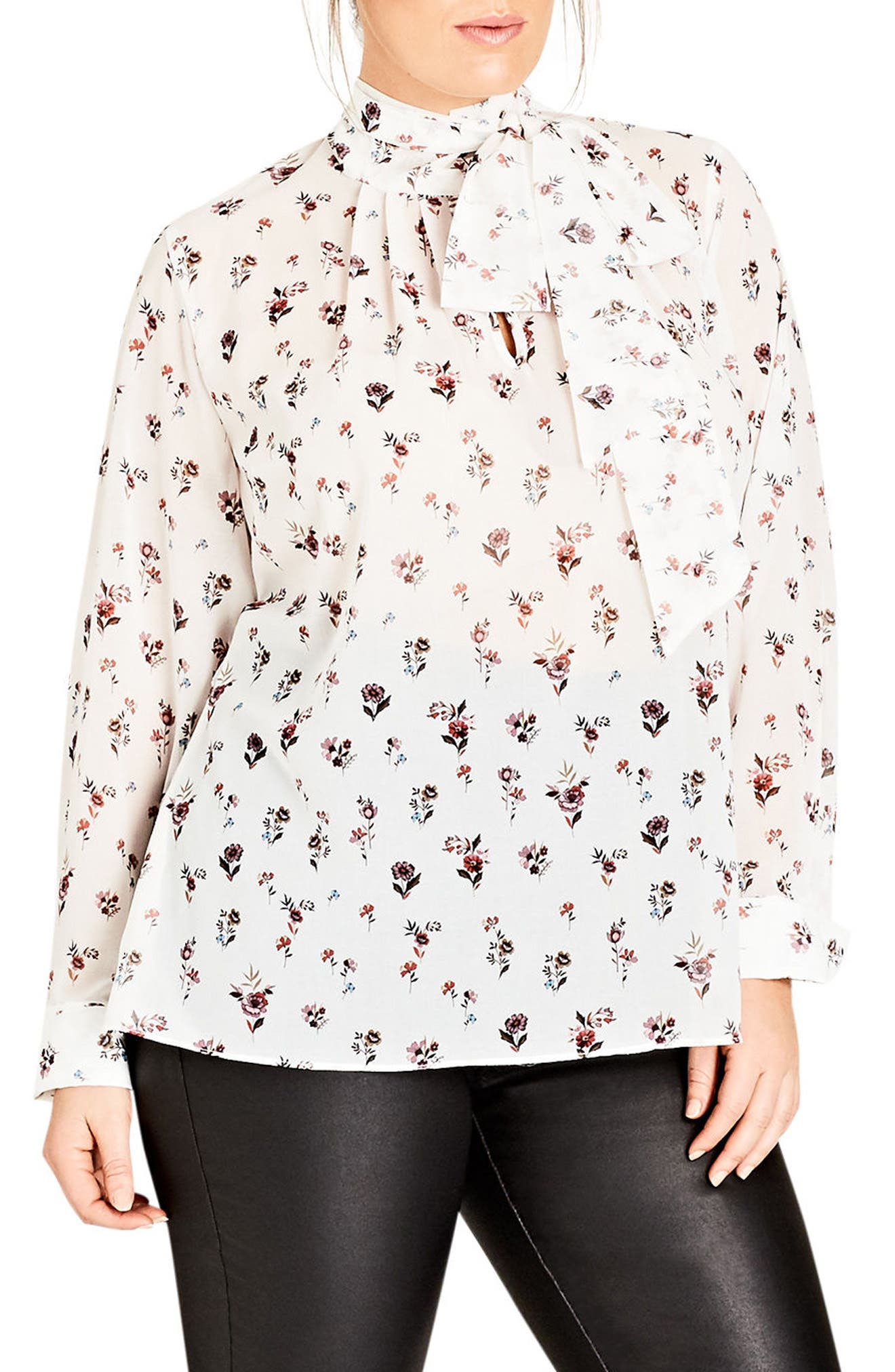 Alternate Image 1 Selected - City Chic Flower Rain Tie Neck Top (Plus Size)