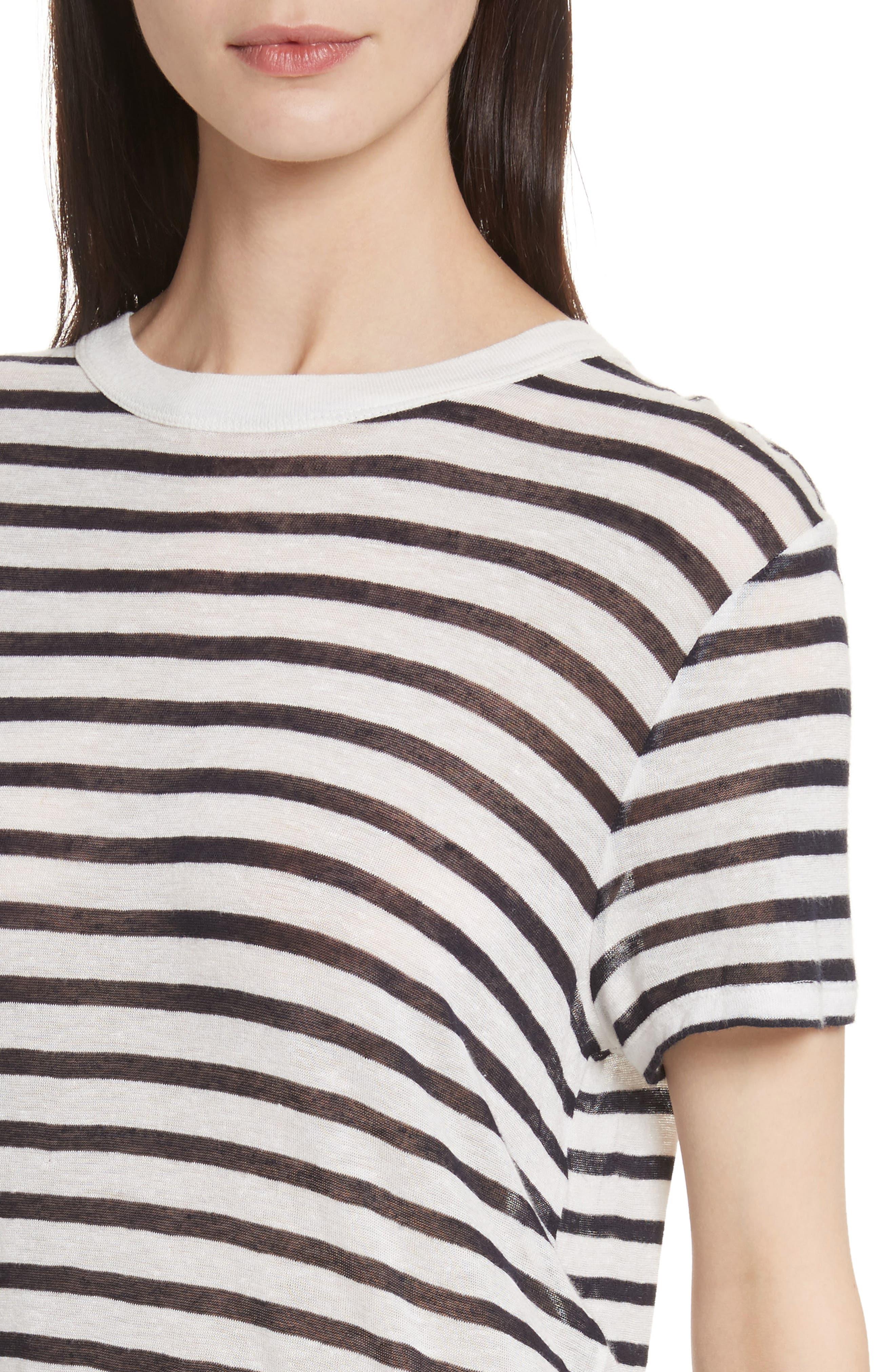 Back Tie Stripe Slub Jersey Tee,                             Alternate thumbnail 4, color,                             Ivory/ Ink Stripe