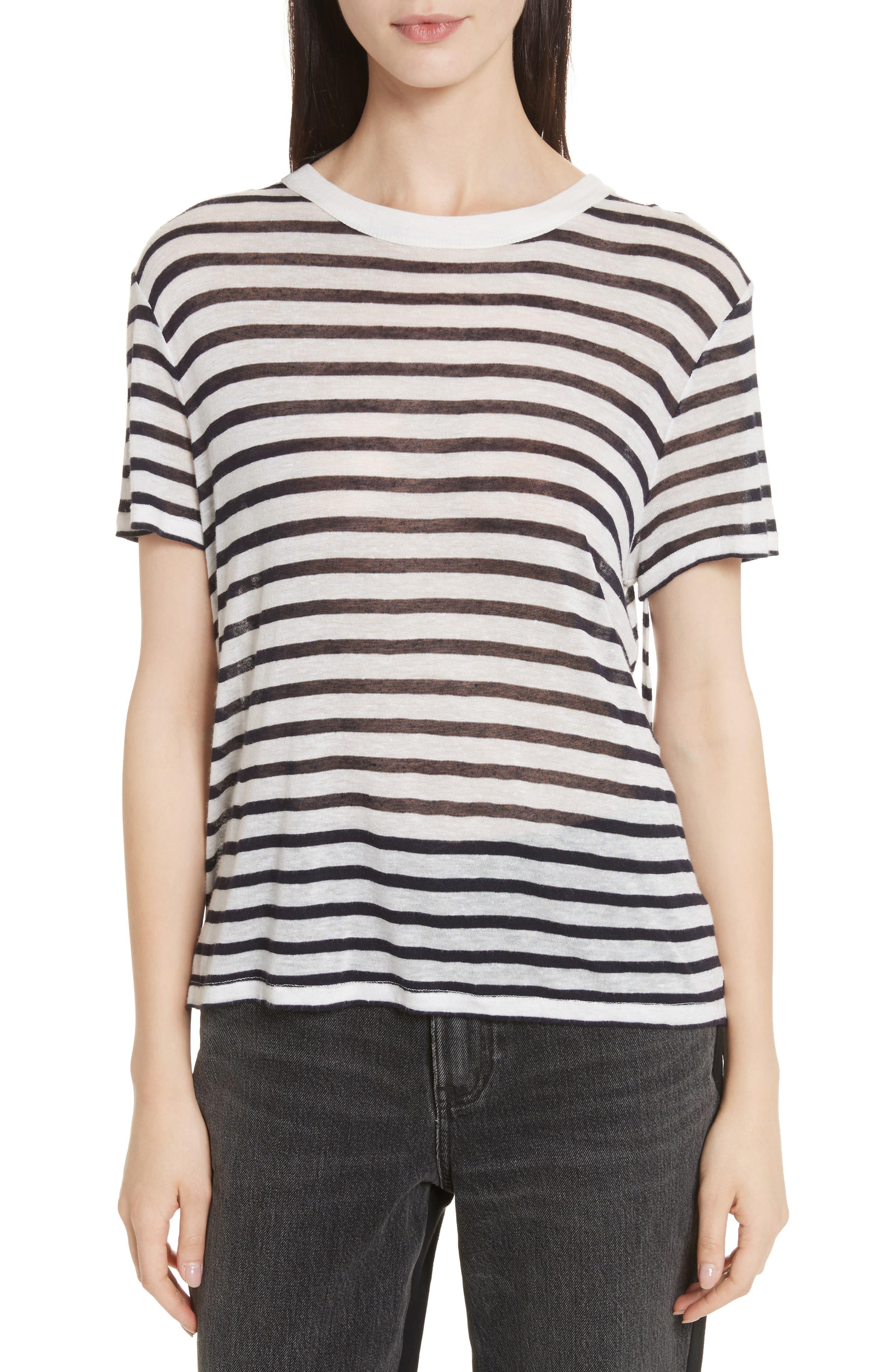 Back Tie Stripe Slub Jersey Tee,                         Main,                         color, Ivory/ Ink Stripe