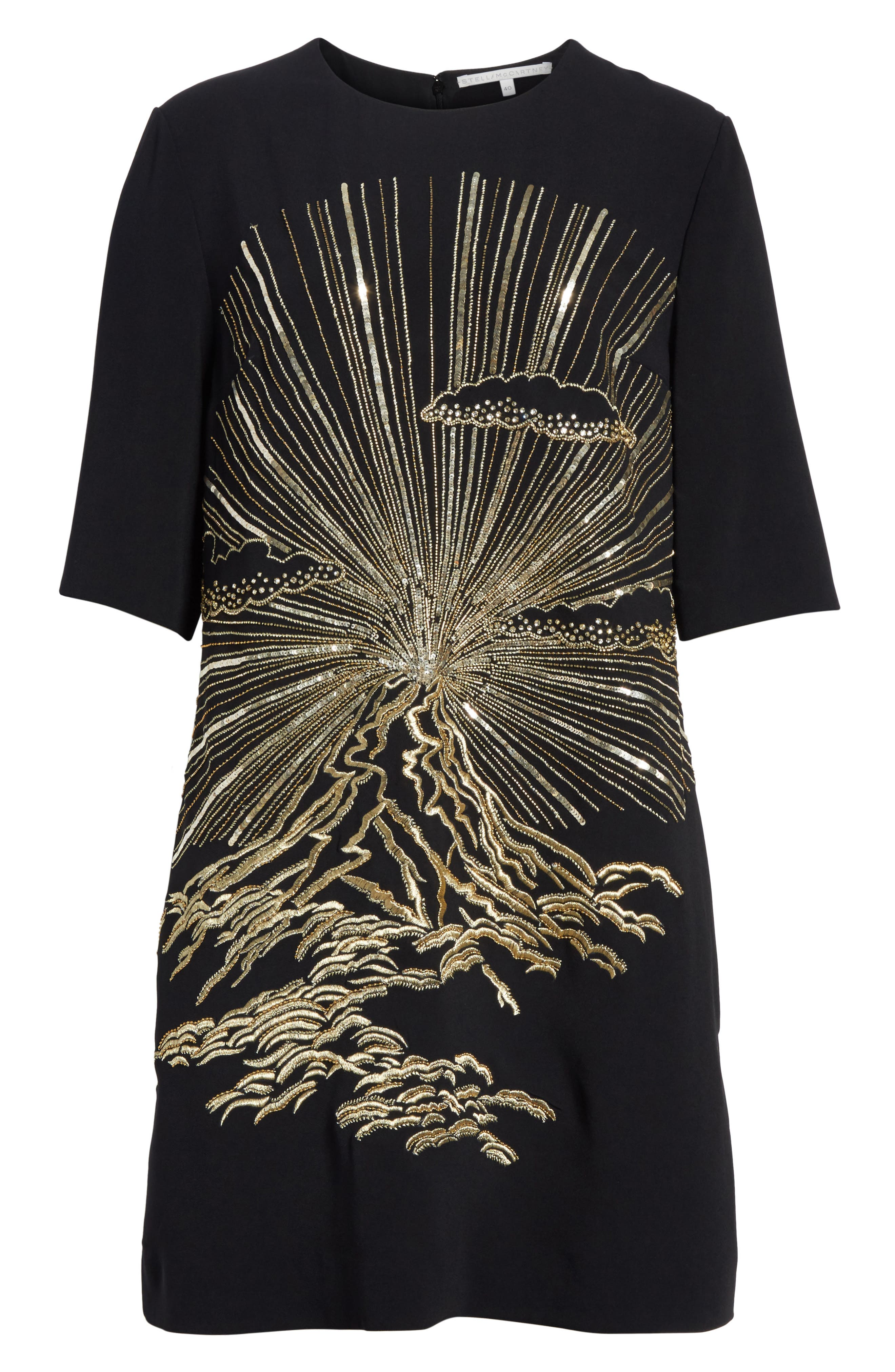 Volcano Embroidered Stretch Cady T-Shirt Dress,                             Alternate thumbnail 7, color,                             Black