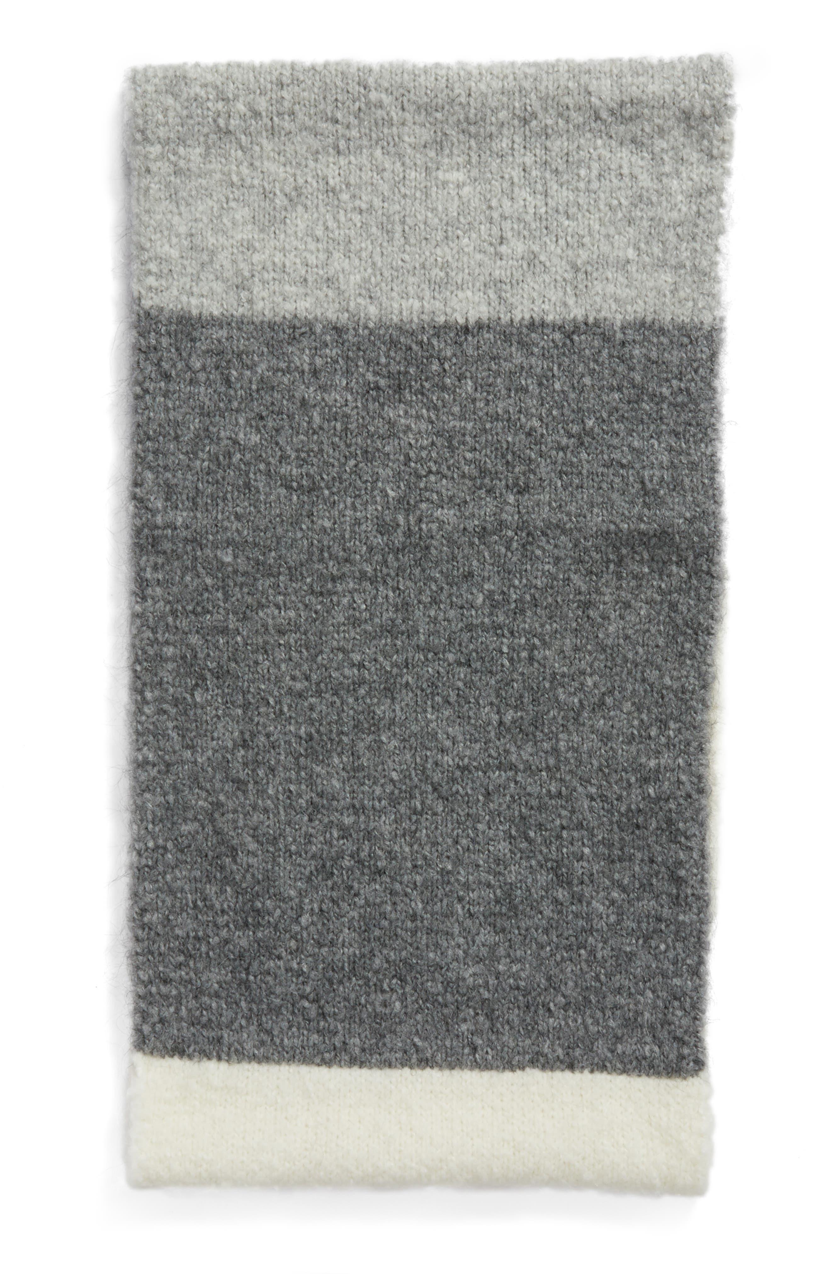Lofty Tricolor Infinity Scarf,                             Alternate thumbnail 2, color,                             Light Grey M