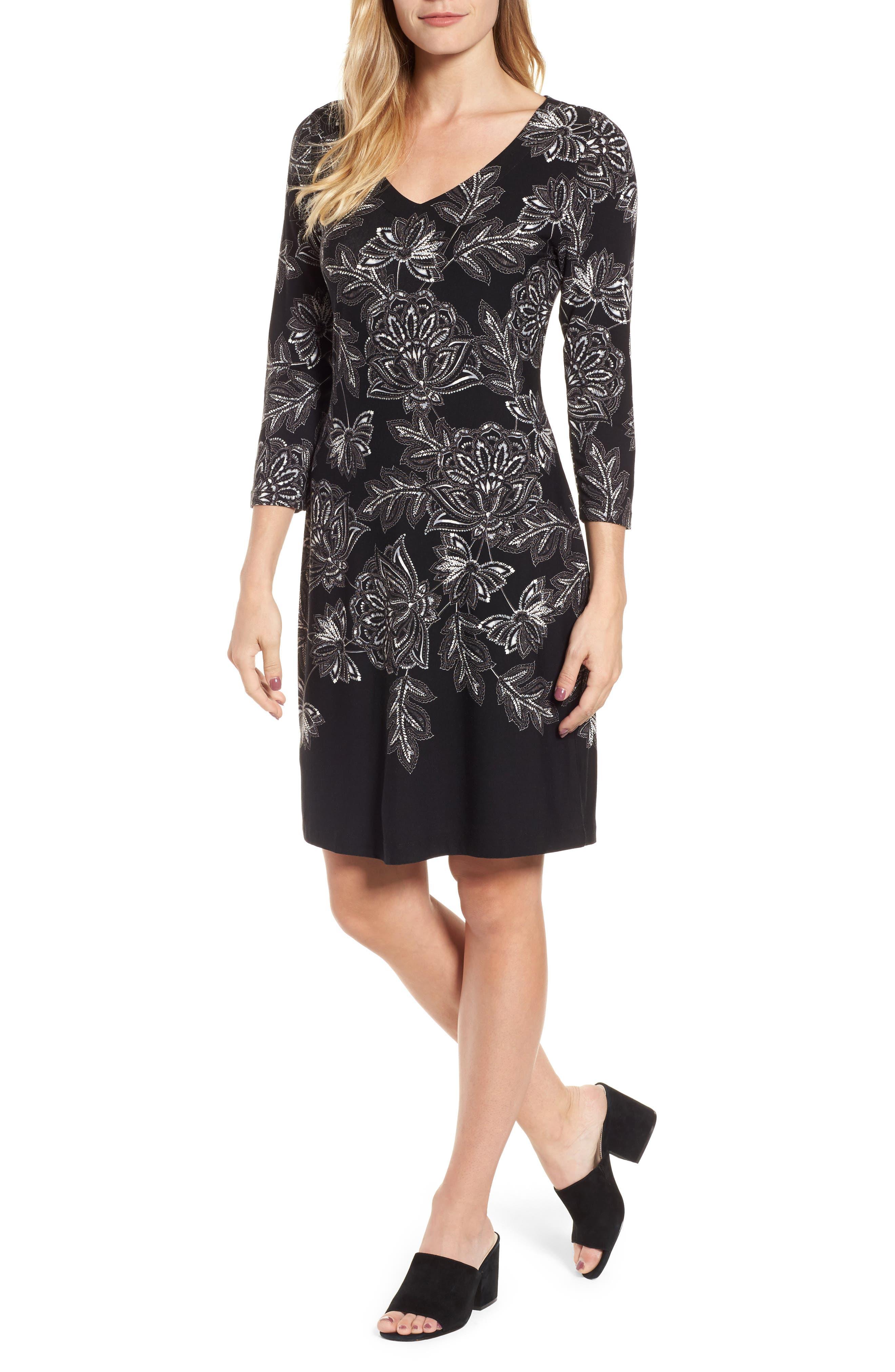 Filigree Floral Print Dress,                         Main,                         color, Black