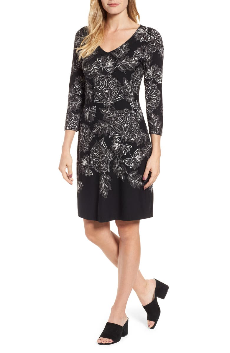 Filigree Floral Print Dress