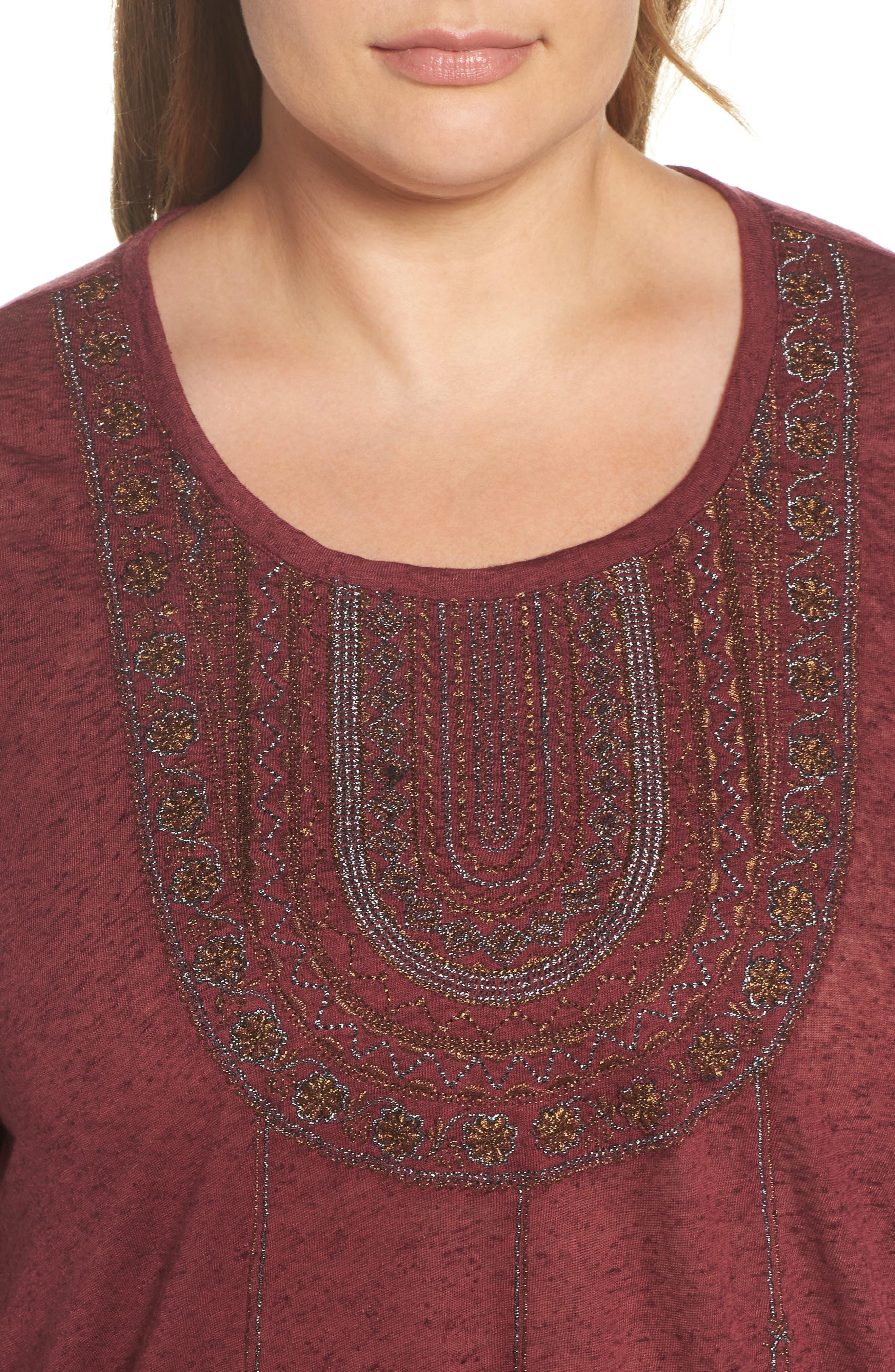 Embroidered Bib Top,                             Alternate thumbnail 4, color,                             Tawny Port