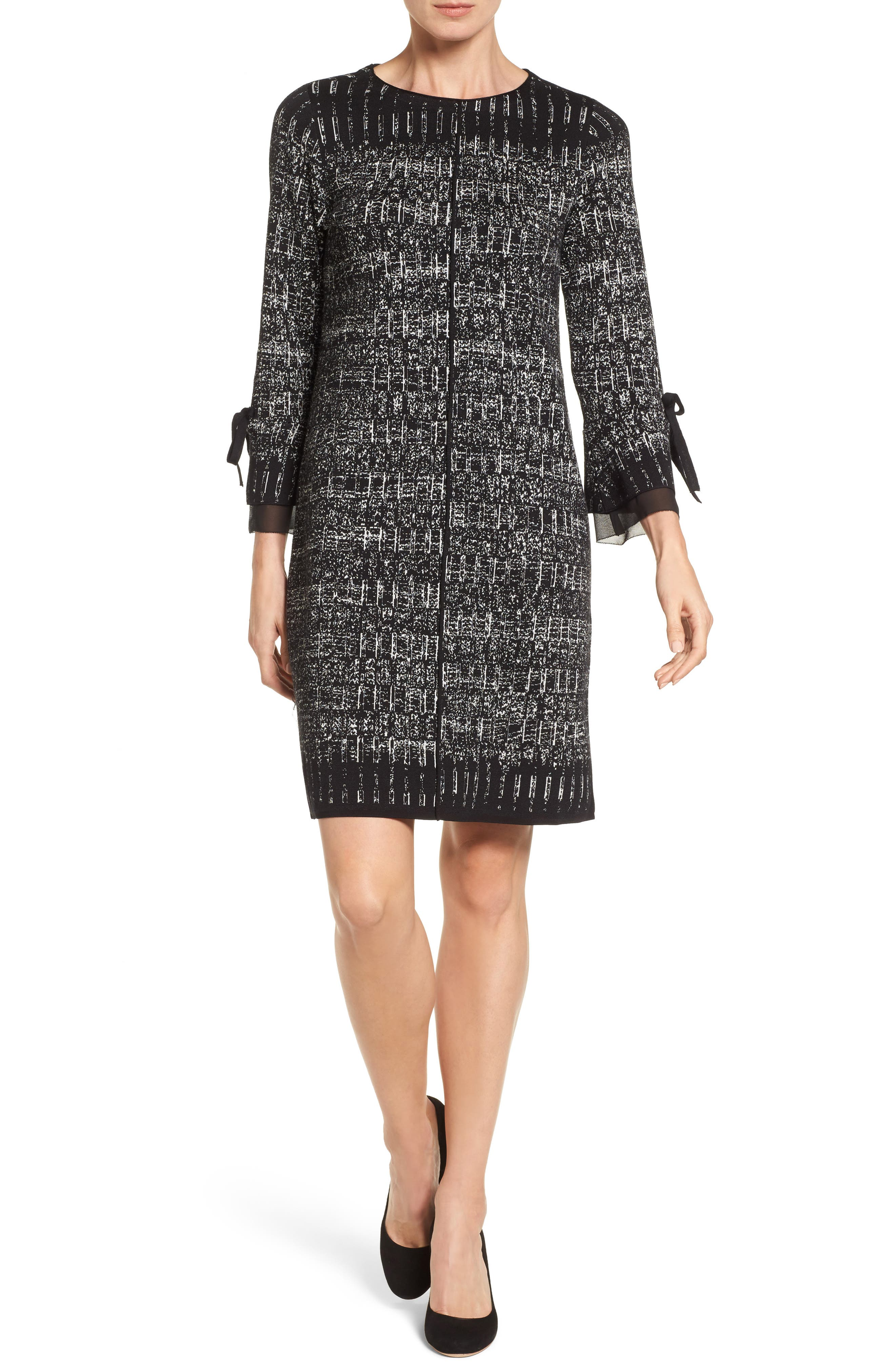 Ruffle Cuff Sweater Dress,                         Main,                         color, Grey Multi