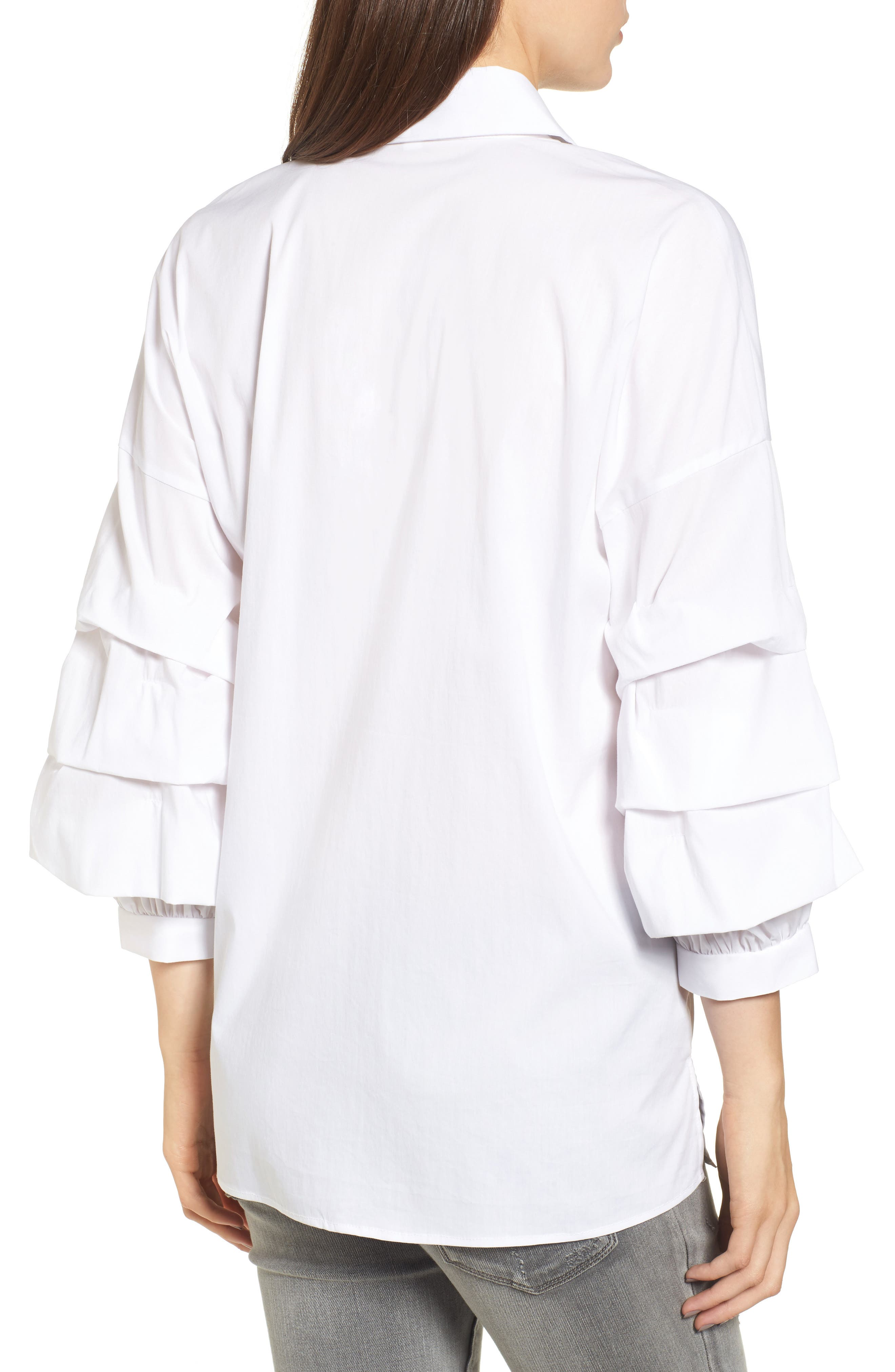 Ruched Sleeve Shirt,                             Alternate thumbnail 2, color,                             White