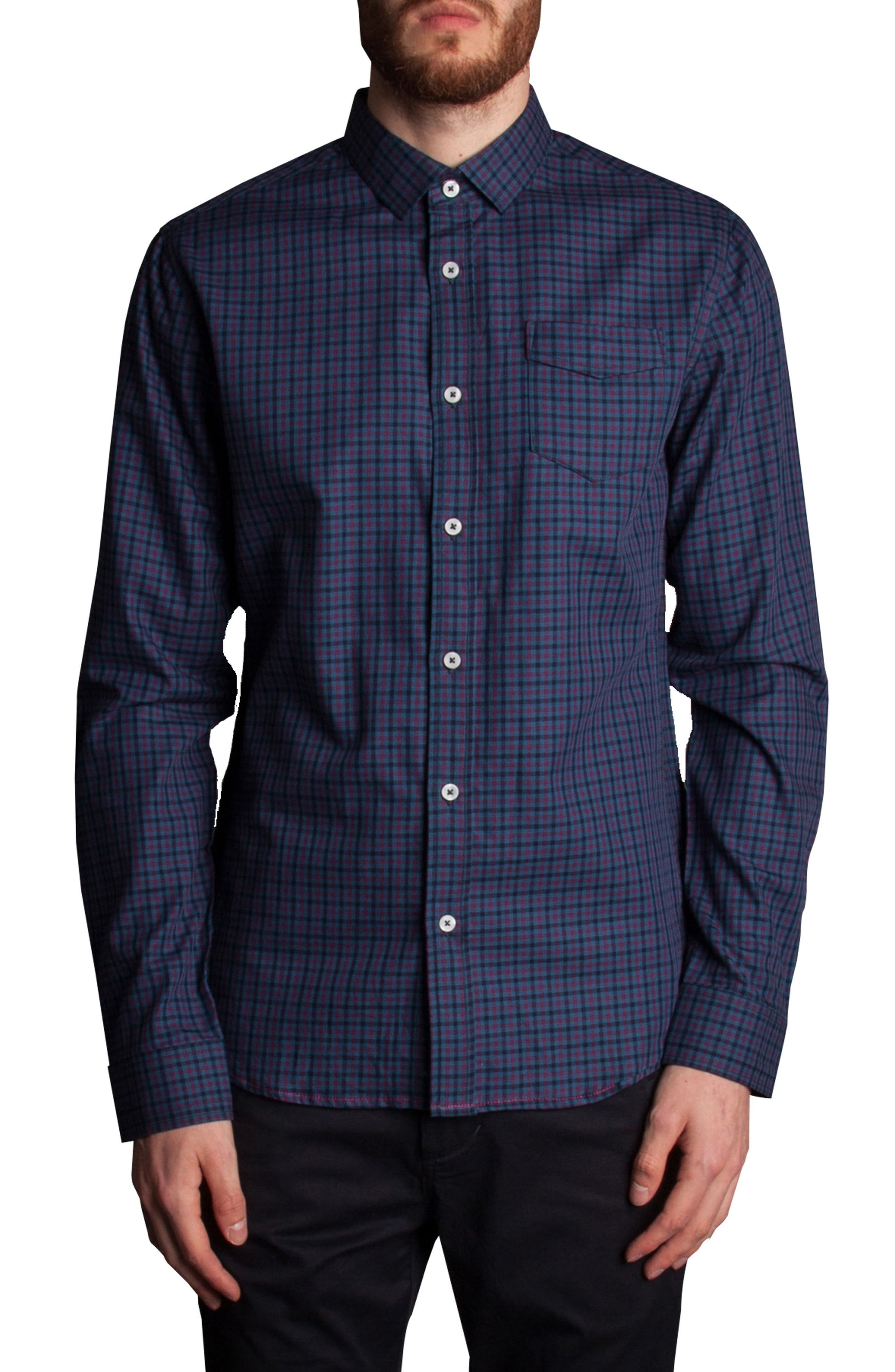 Inter Plaid Sport Shirt,                         Main,                         color, Navy
