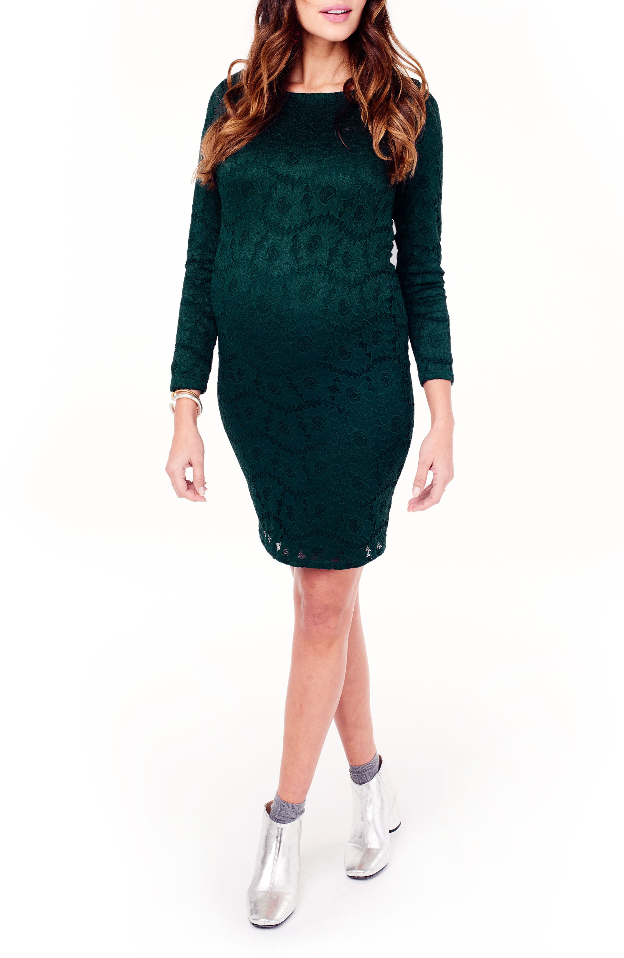 Ingrid & Isabel Lace Maternity Dress,                         Main,                         color, Evergreen