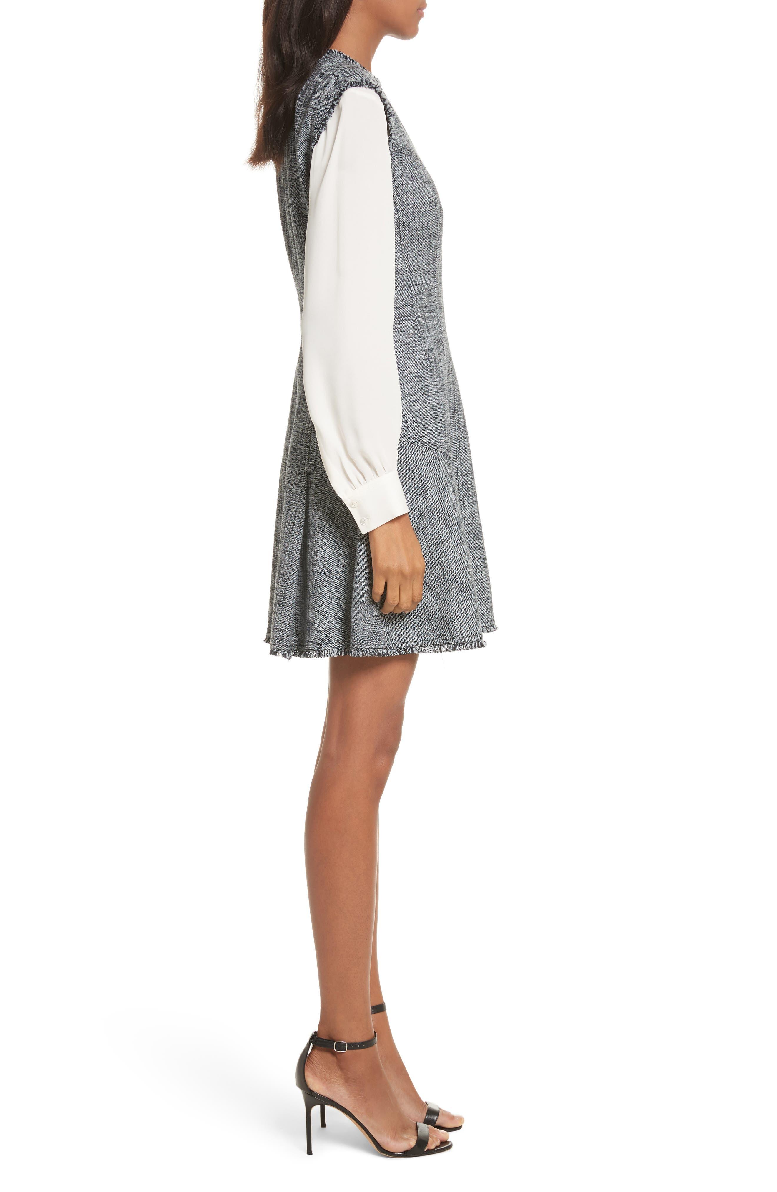 Slub Suiting Fit & Flare Dress,                             Alternate thumbnail 3, color,                             Grey/ Black Combo