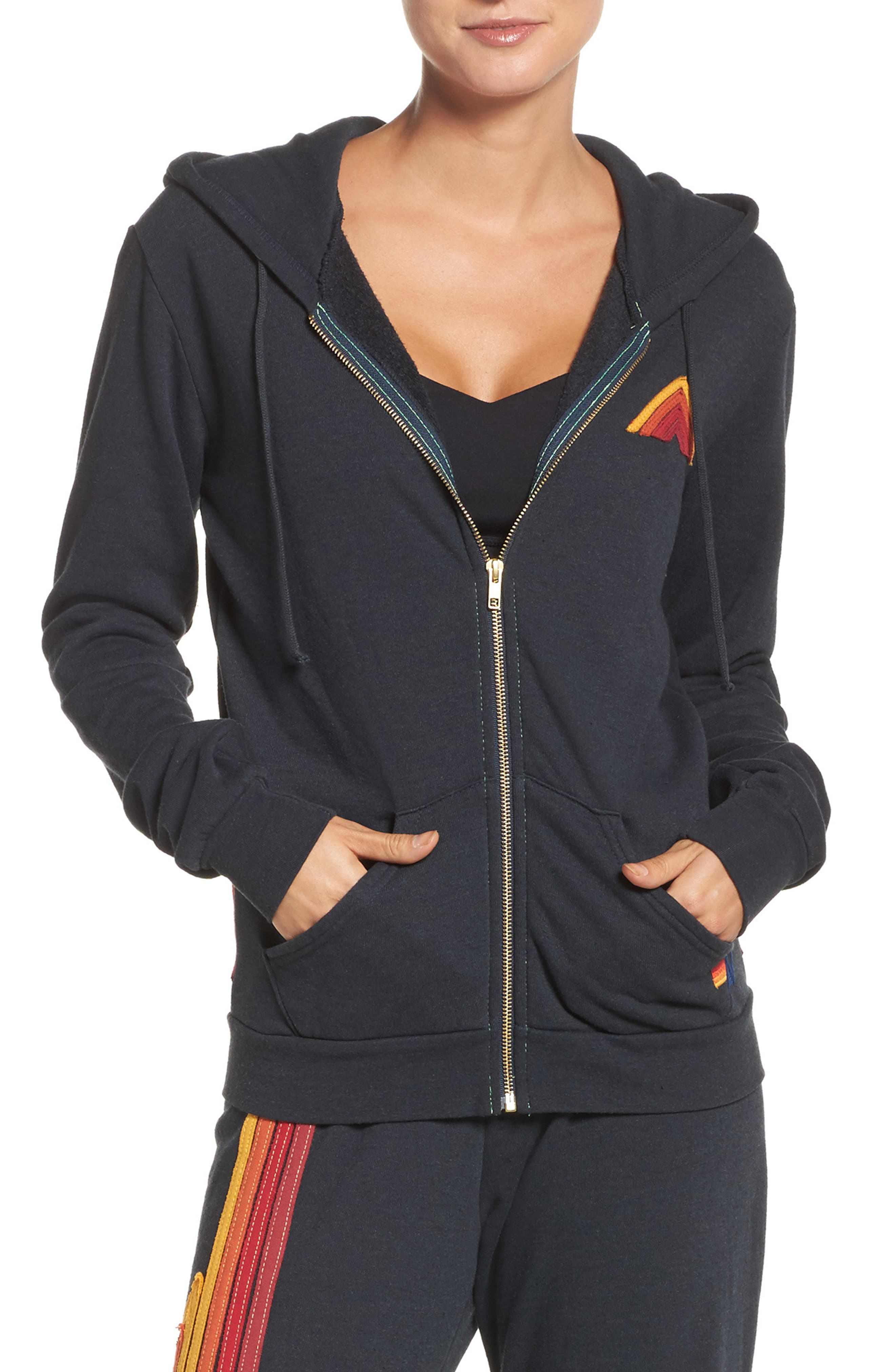 Mountain Stripe Zip Hoodie,                         Main,                         color, Charcoal/ Red Stripes