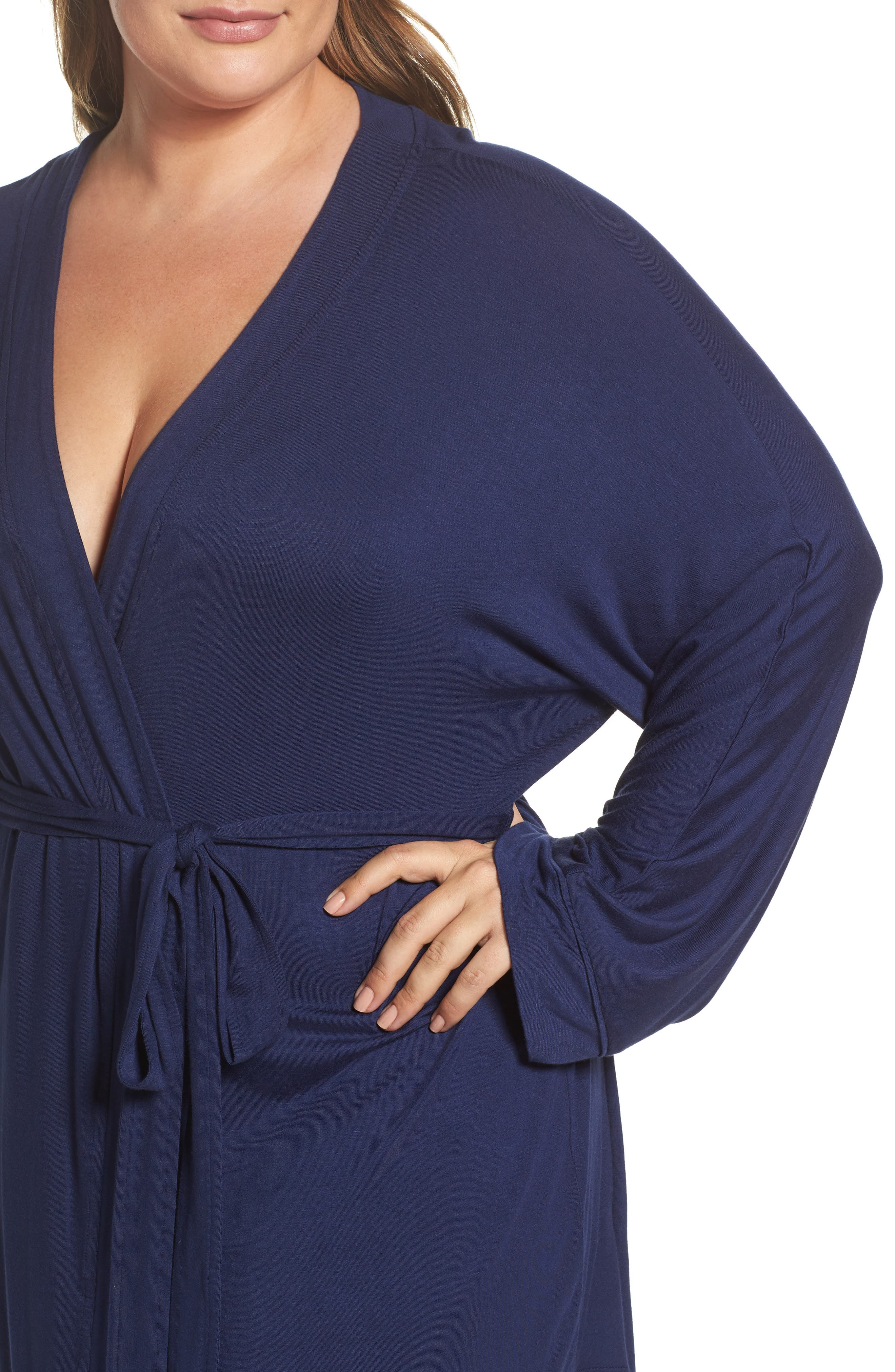 All American Jersey Robe,                             Alternate thumbnail 4, color,                             Navy