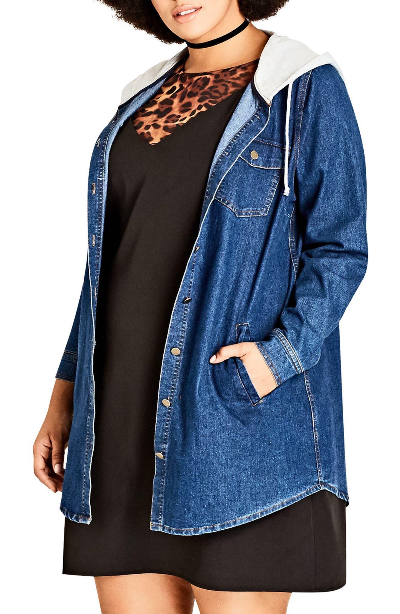 Alternate Image 3  - City Chic Denim Vibe Hooded Jacket (Plus Size)