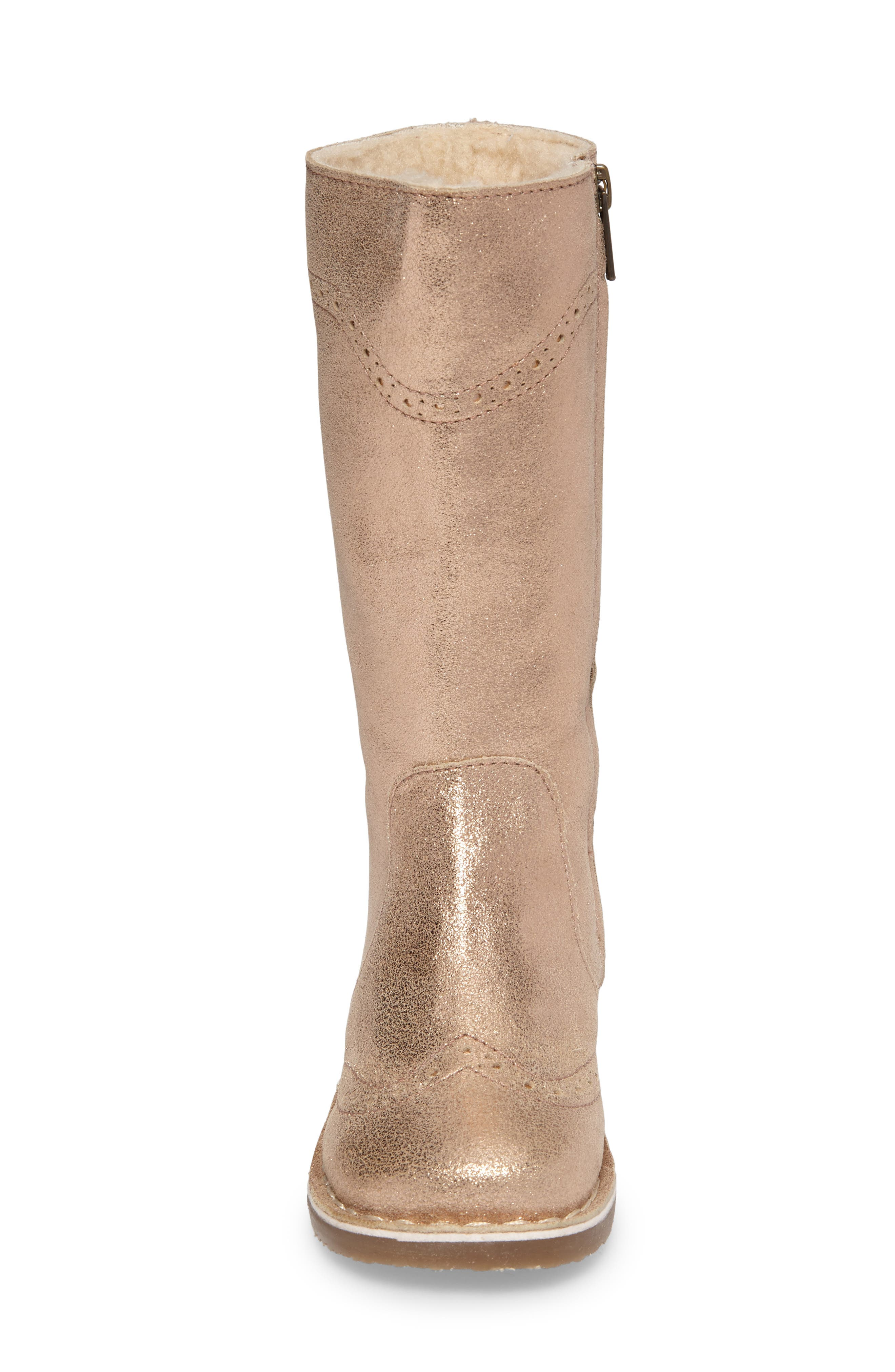 Tall Leather Boot,                             Alternate thumbnail 4, color,                             Rose Gold