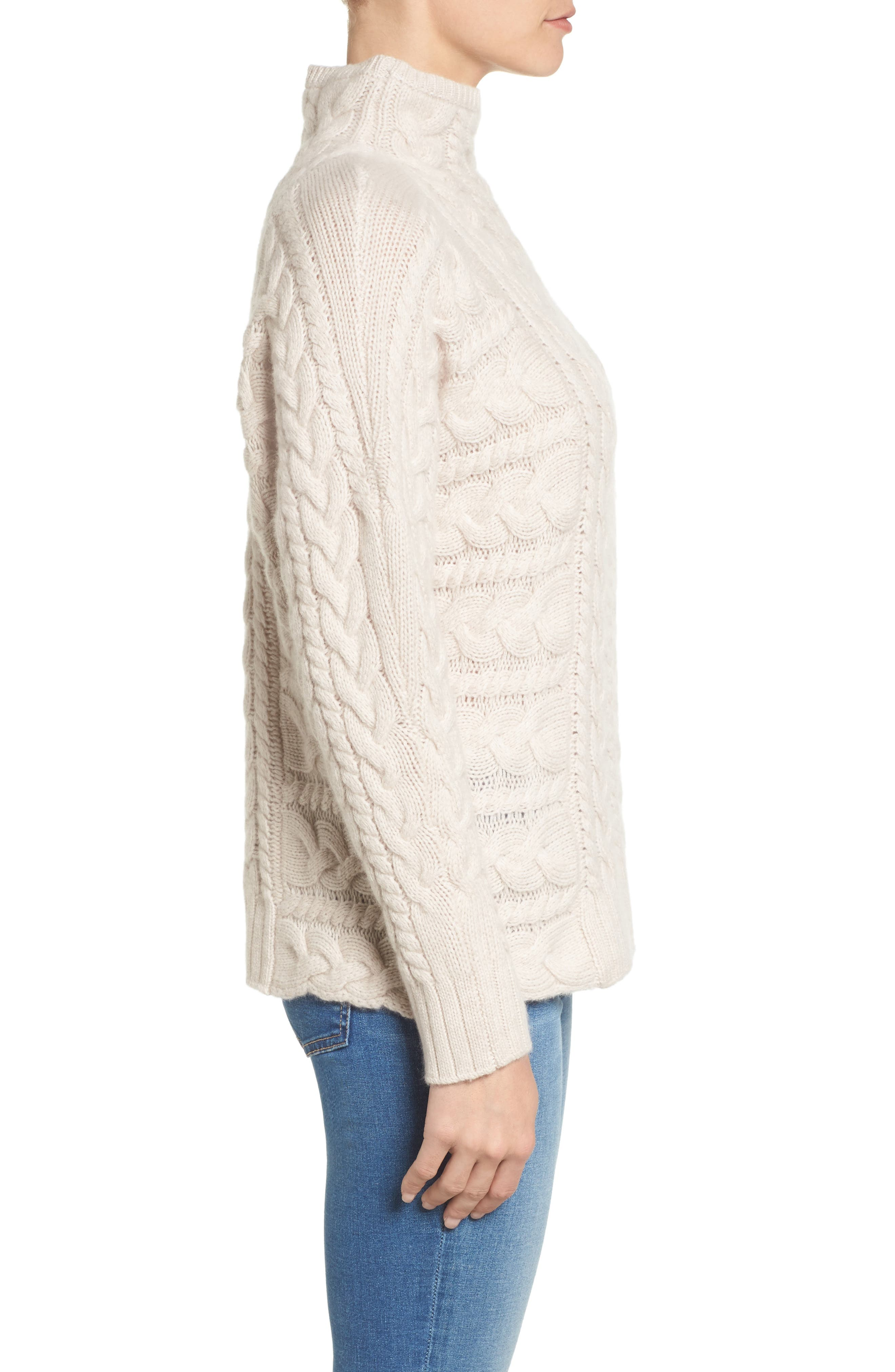 Cashmere Cable Sweater,                             Alternate thumbnail 3, color,                             Beige Pumice Heather