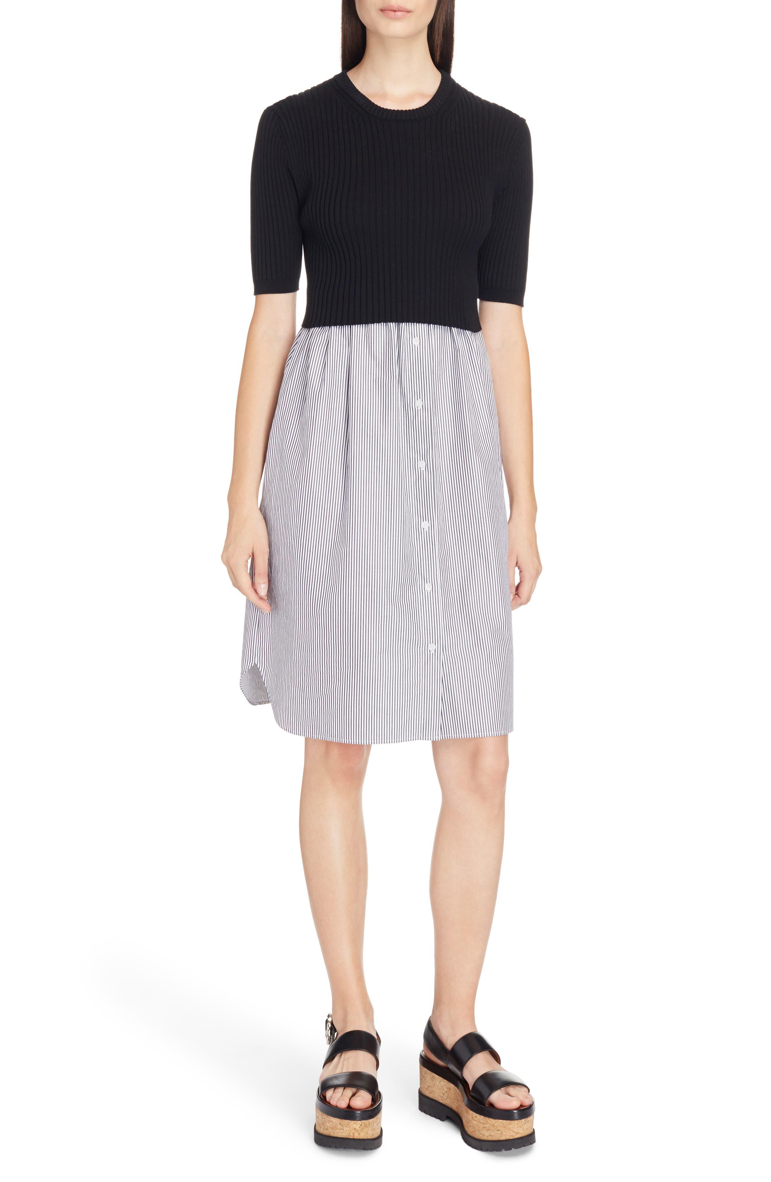 Knit Pullover Shirtdress,                         Main,                         color, Black