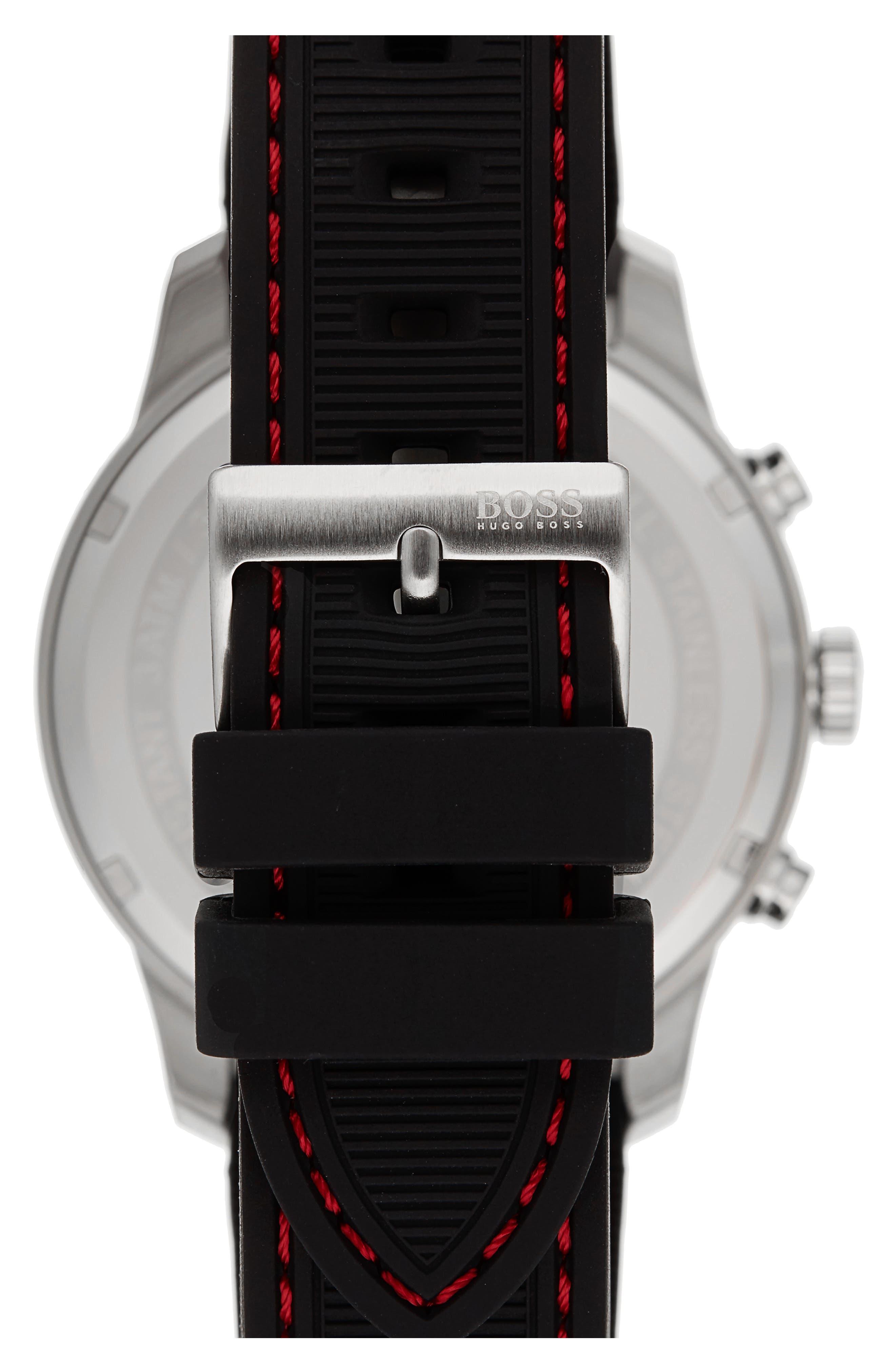 Professional Chronograph Leather Strap Watch, 42mm,                             Alternate thumbnail 2, color,                             Black/ Black