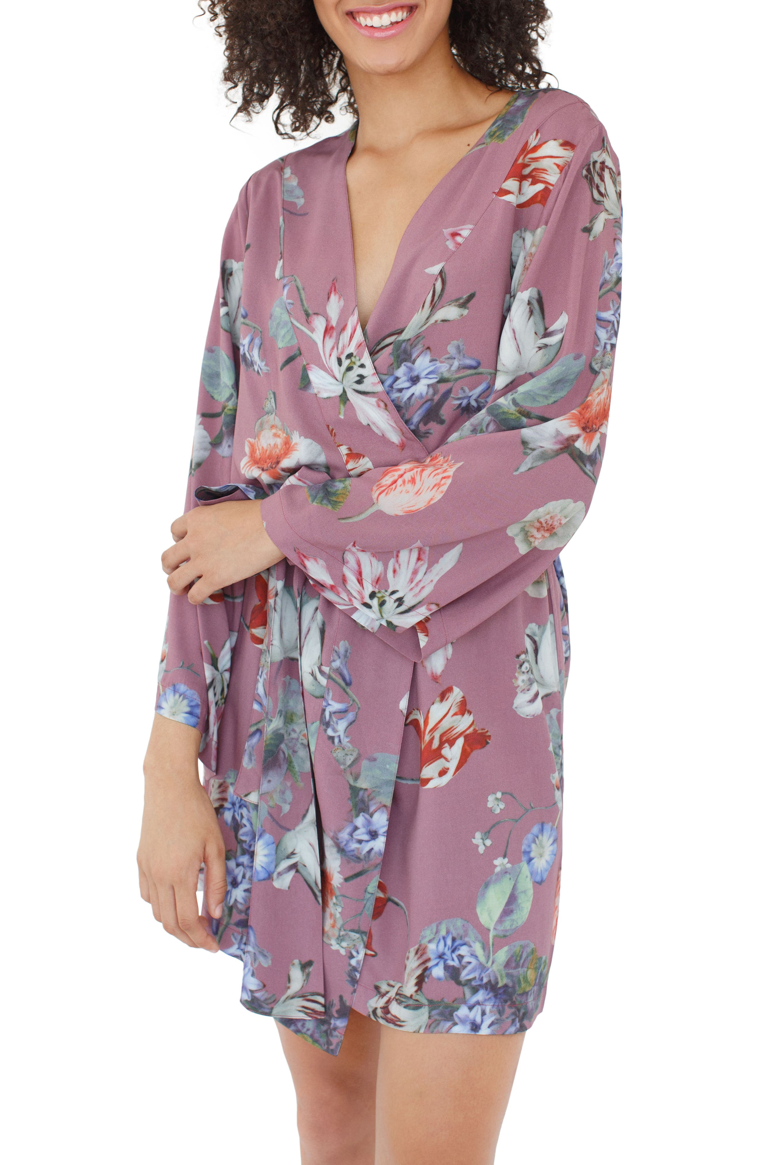 Floral Kimono Robe,                             Alternate thumbnail 2, color,                             Sundown