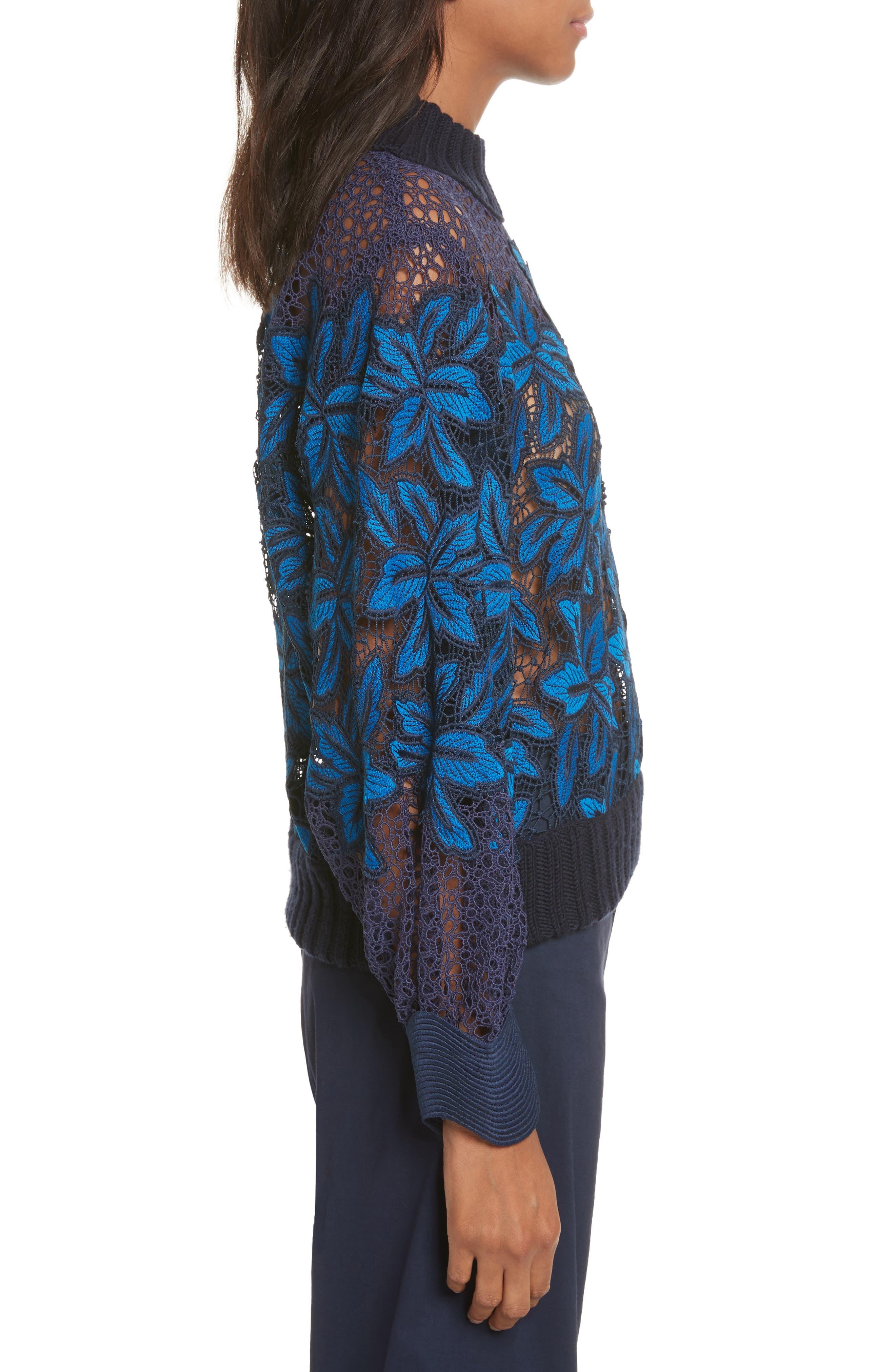 Mosaic Lace Bell Sleeve Sweatshirt,                             Alternate thumbnail 4, color,                             Blue Multi