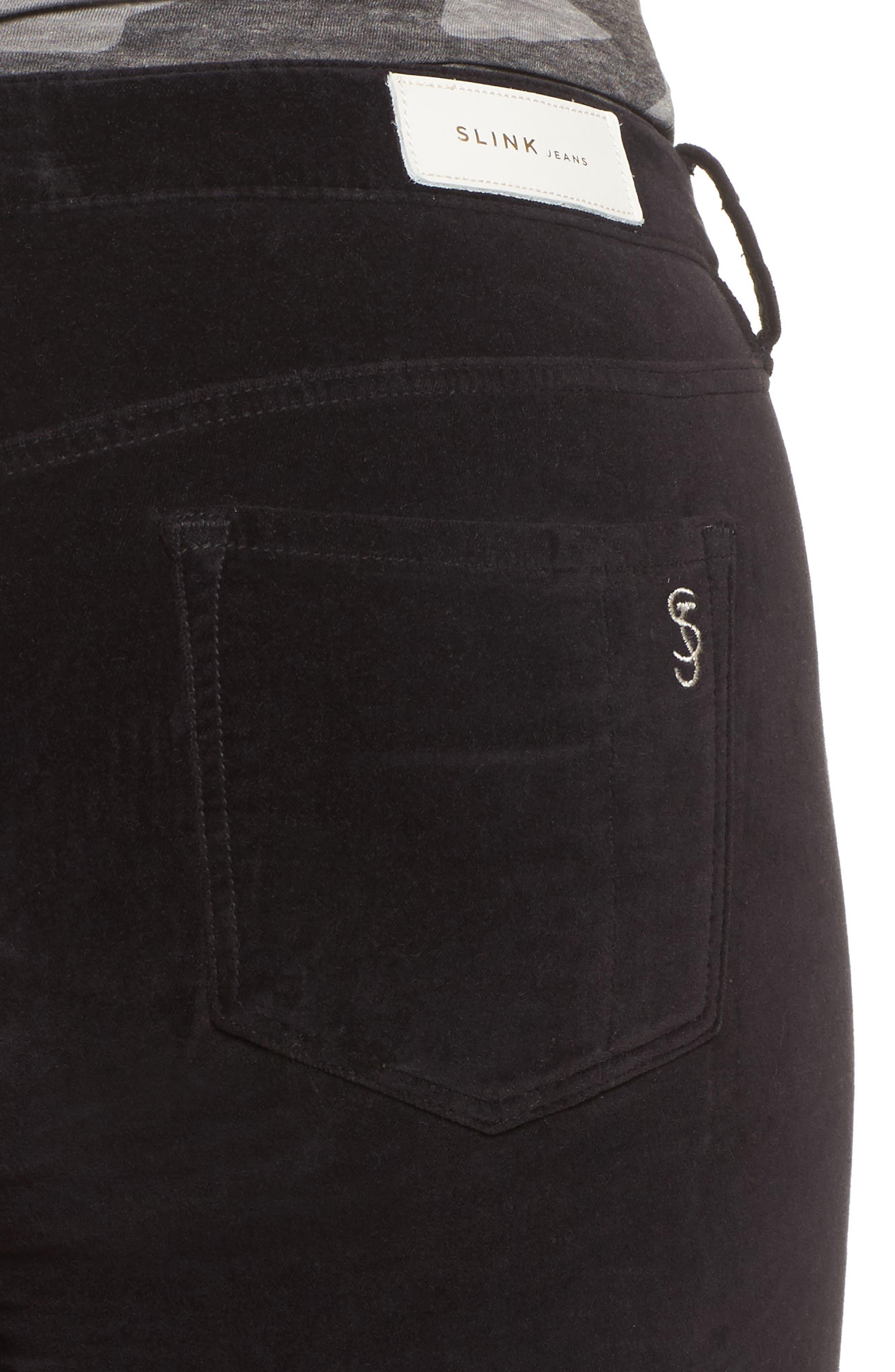 Alternate Image 4  - SLINK Jeans Velvet Skinny Ankle Jeans (Plus Size)