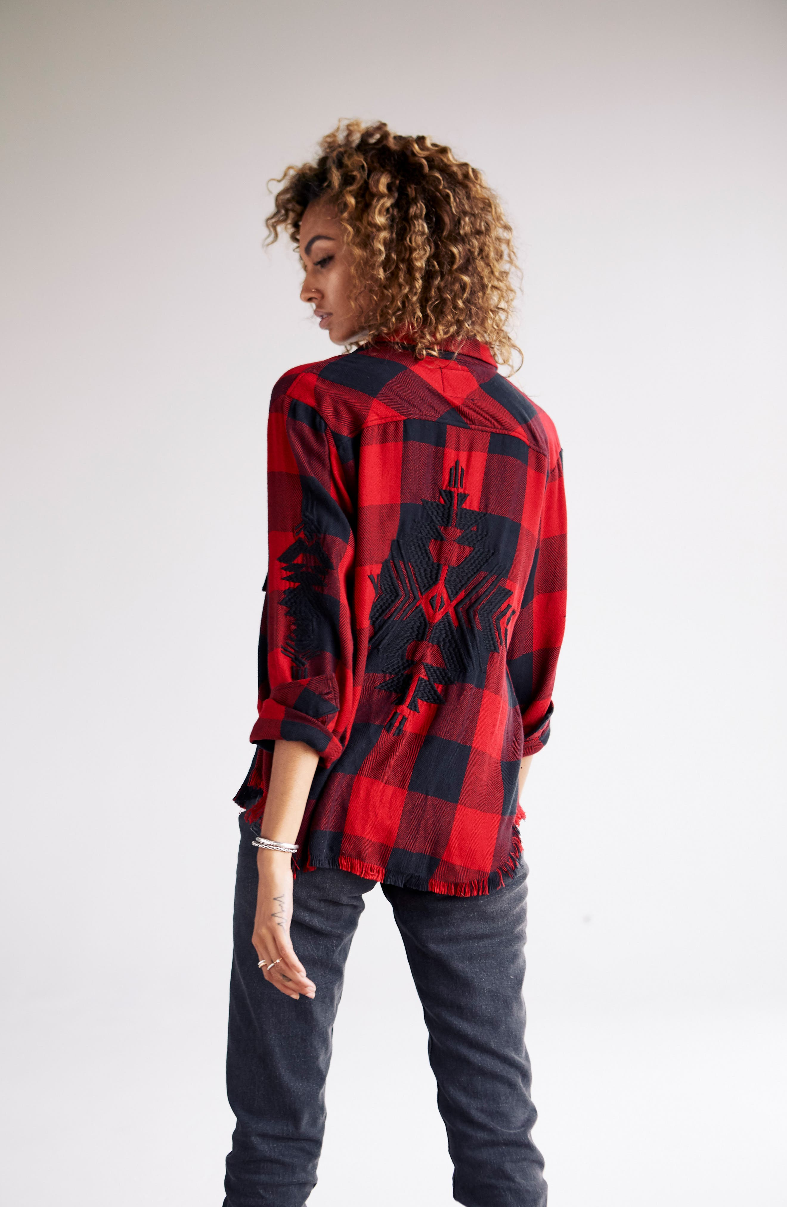 Larsson Embroidered Flannel Shirt,                             Alternate thumbnail 2, color,                             Crimson Jet