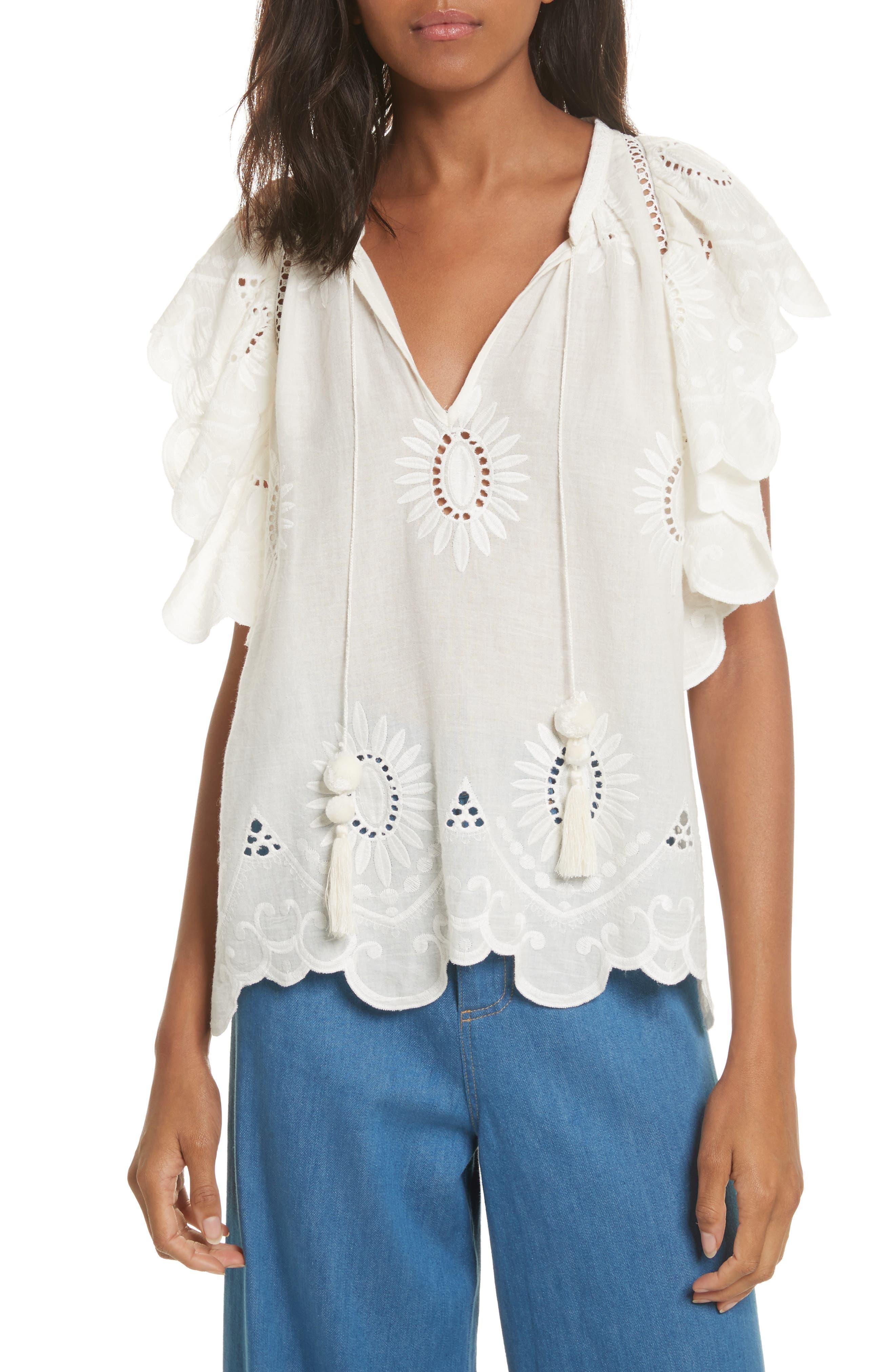 Fiona Ruffle Cotton Eyelet Top,                         Main,                         color, White
