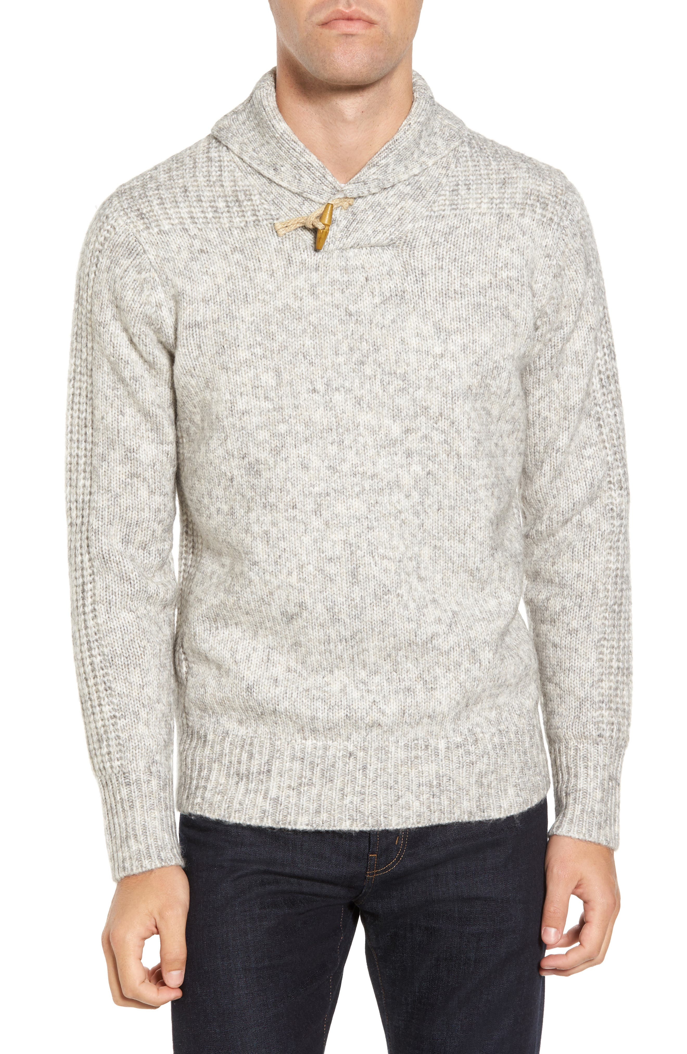 Toggle Shawl Collar Sweater,                         Main,                         color, Cloud