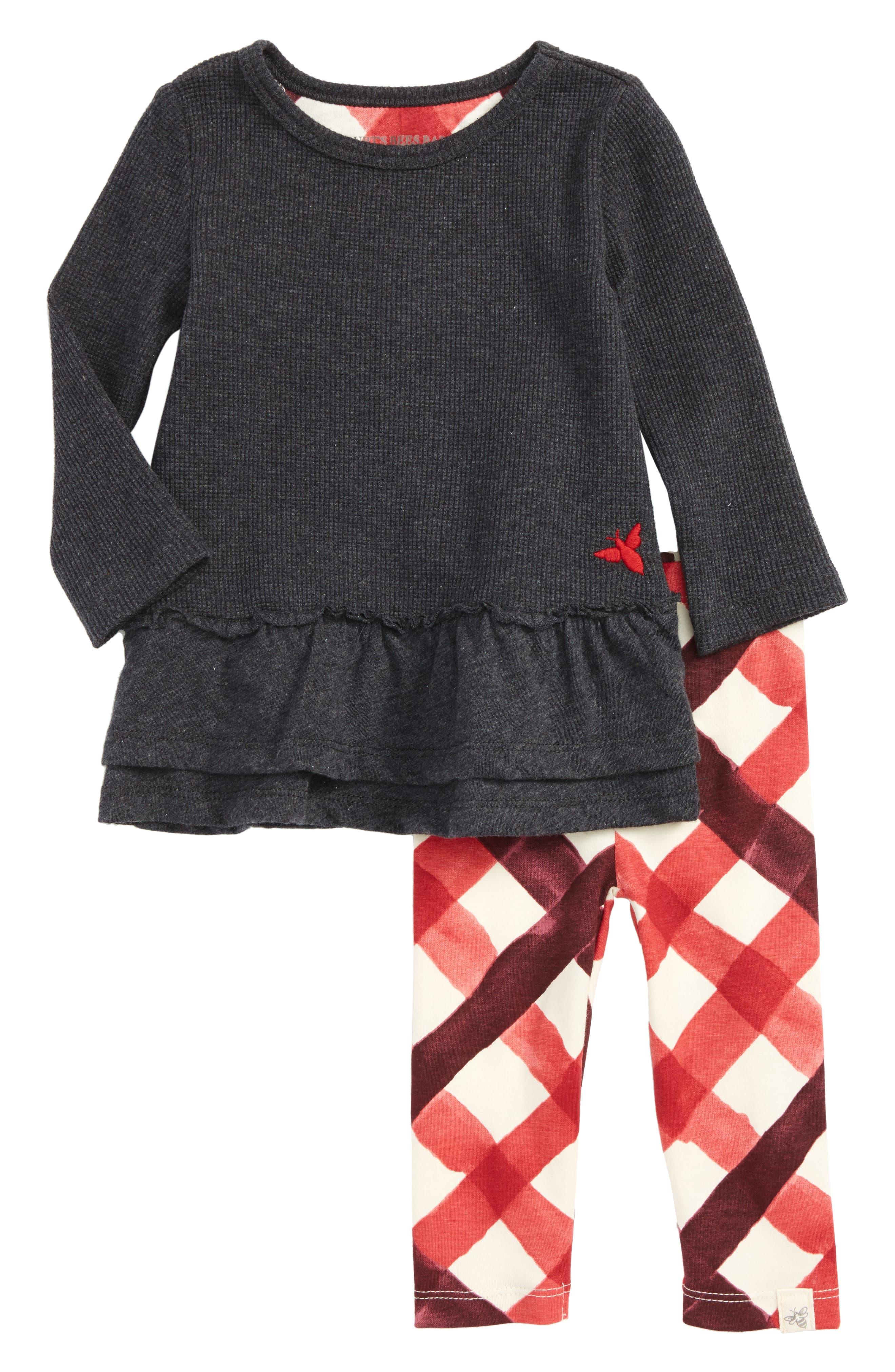 Thermal Ruffle Skater Dress & Leggings Set,                             Main thumbnail 1, color,                             Coal Heather